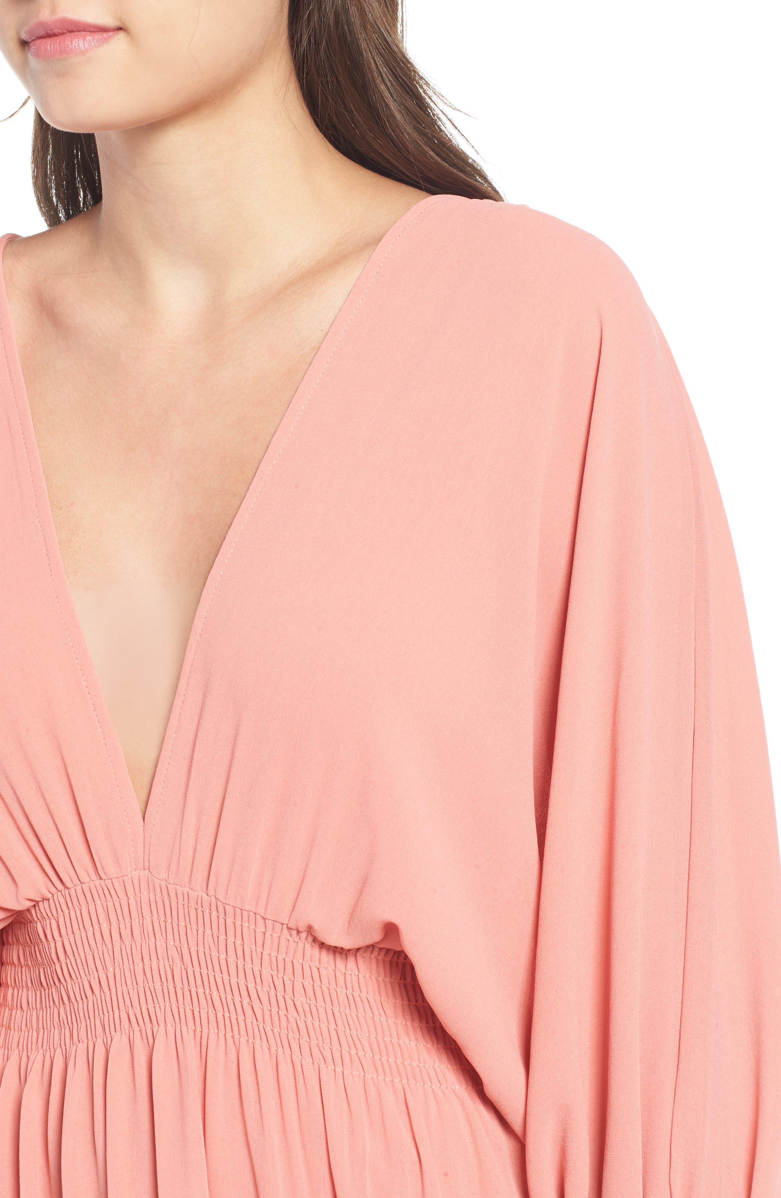 Margaux Midi Dress,                             Alternate thumbnail 4, color,                             Blush