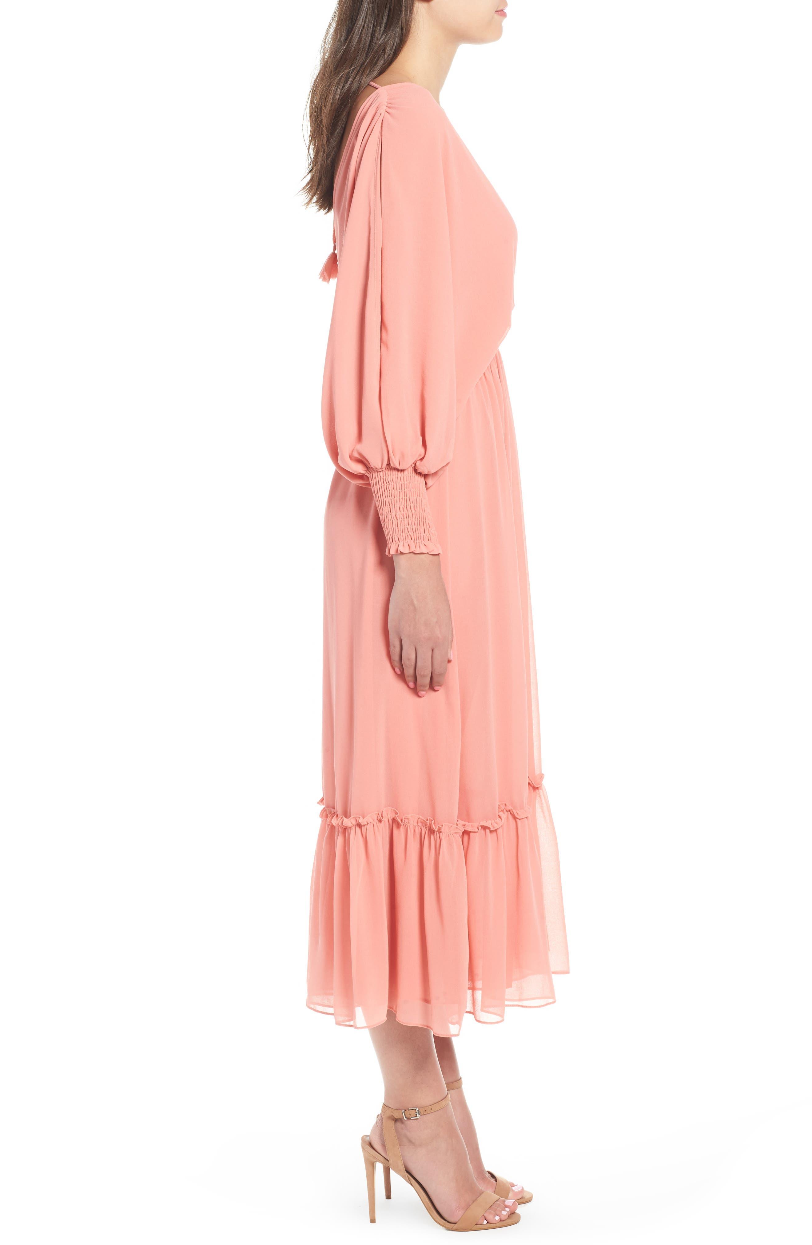 Margaux Midi Dress,                             Alternate thumbnail 6, color,                             Blush