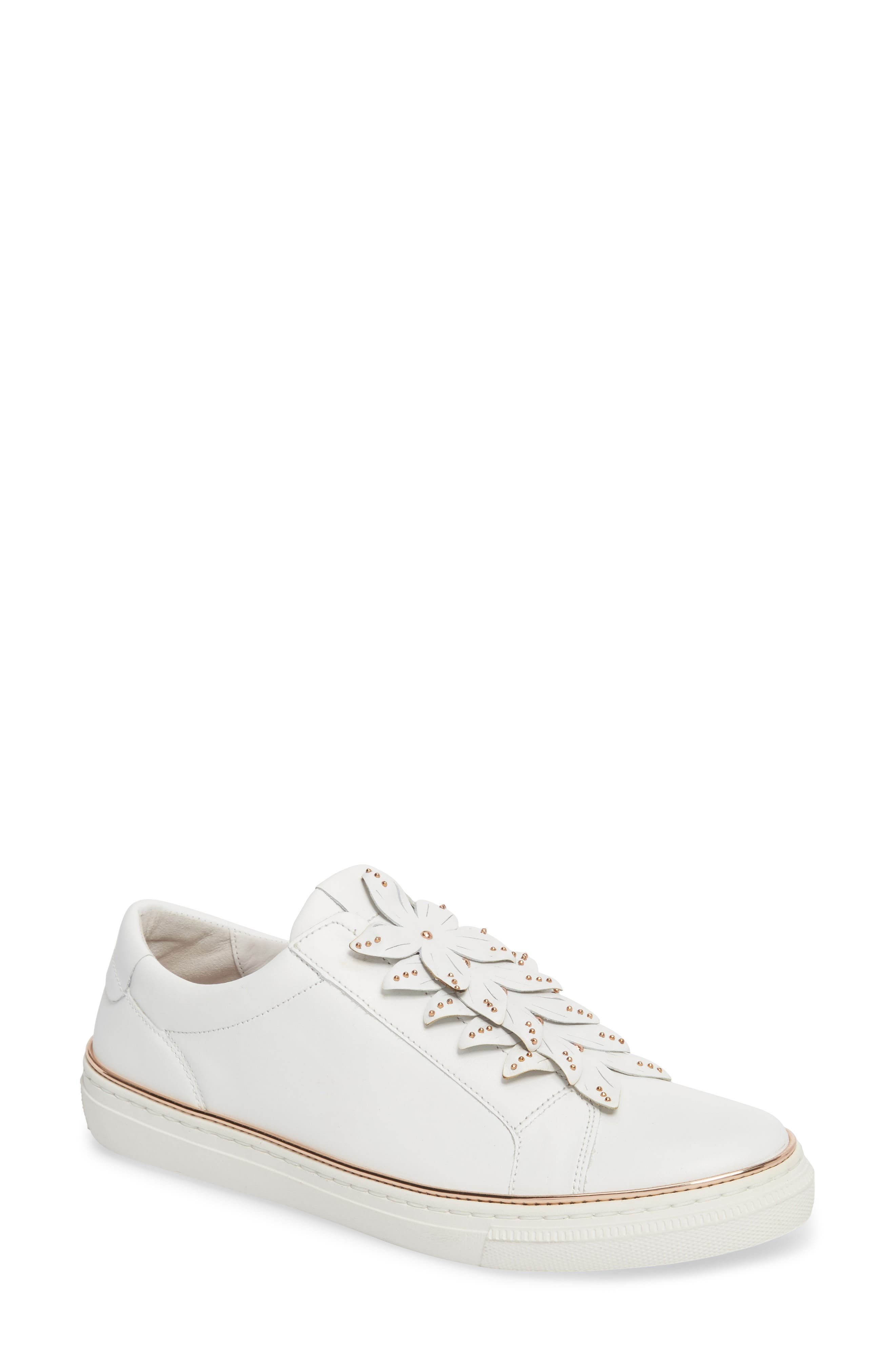 Embellished Sneaker,                             Main thumbnail 1, color,                             White Leather
