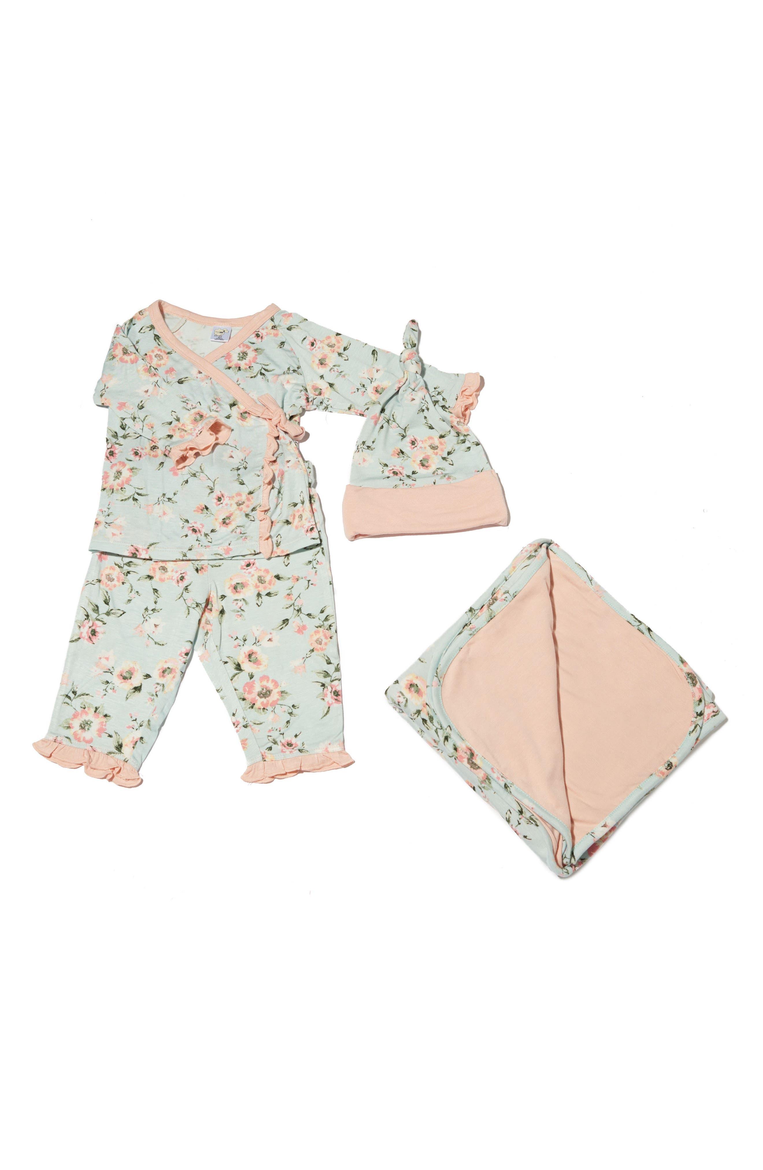 Baby Grey Ruffle Kimono Top, Pants, Hat & Receiving Blanket Set (Baby Girls)