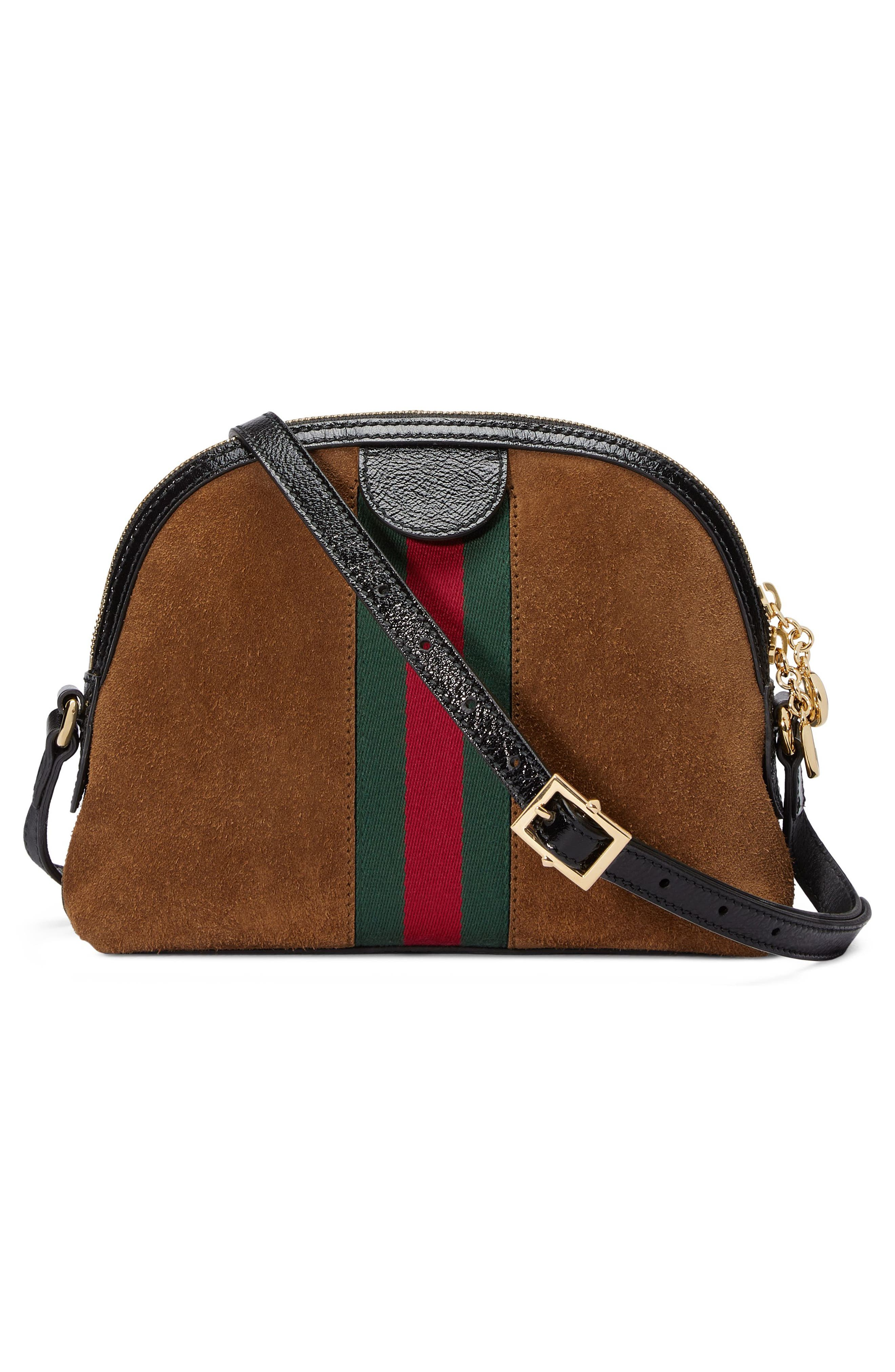 Small Suede Shoulder Bag,                             Alternate thumbnail 2, color,                             Nocciola/ Nero/ Vert Red Vert