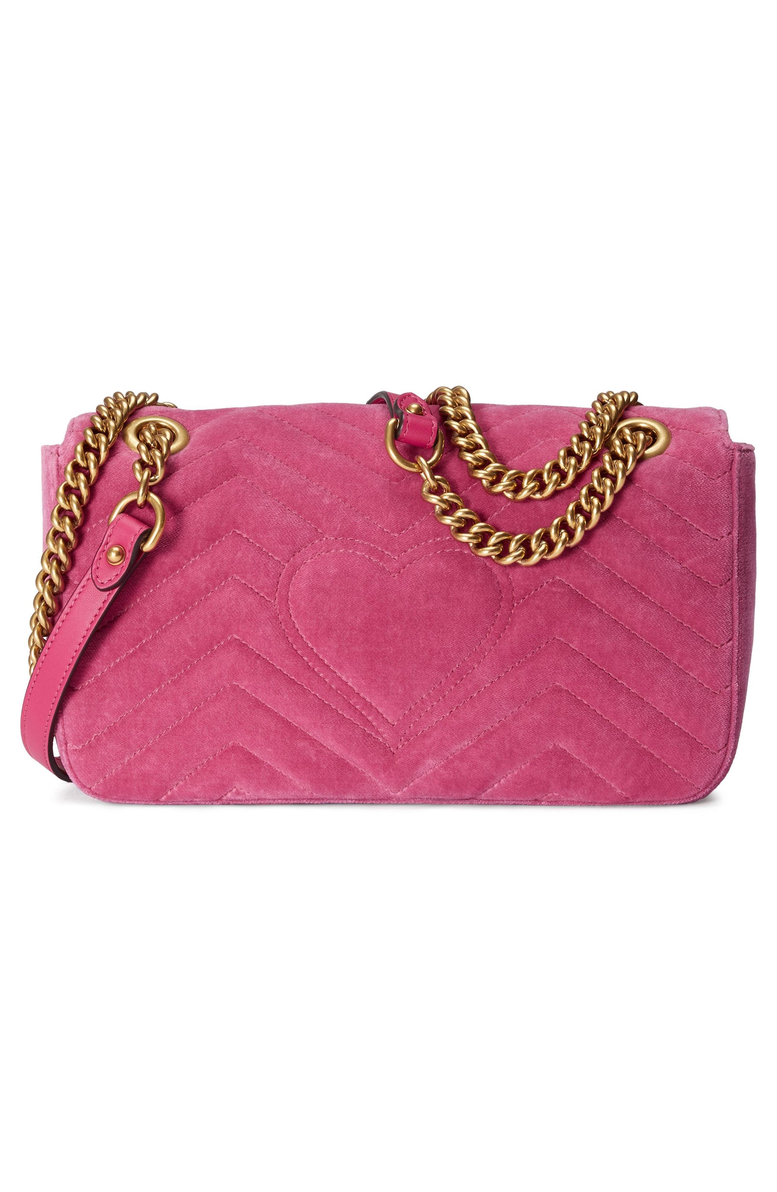 Medium GG Marmont 2.0 Matelassé Velvet Shoulder Bag,                             Alternate thumbnail 2, color,                             Raspberry/ Raspberry Multi