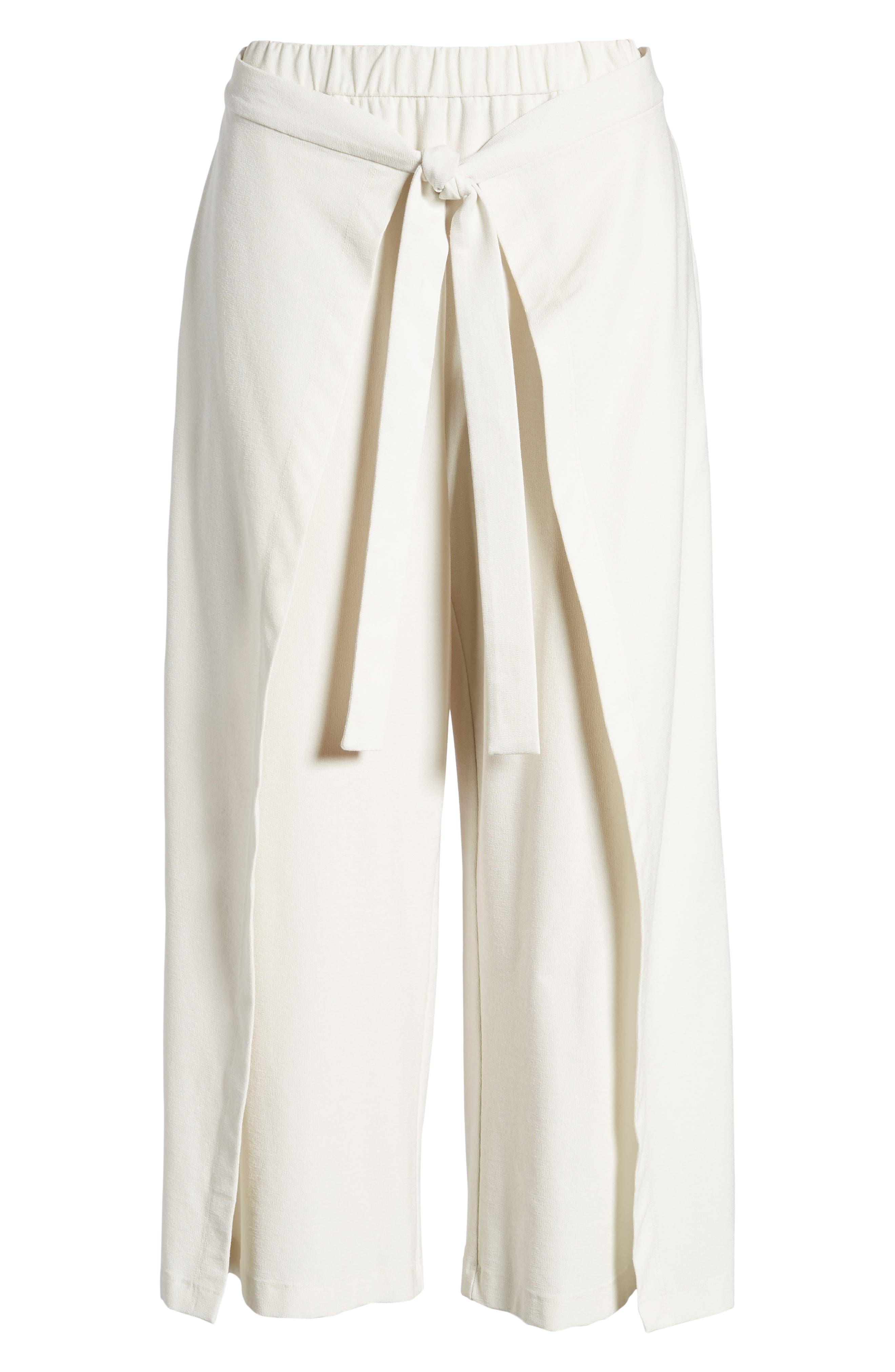 Washable Stretch Crepe Tie-Front Crop Wide Leg Pants,                             Alternate thumbnail 7, color,                             Bone