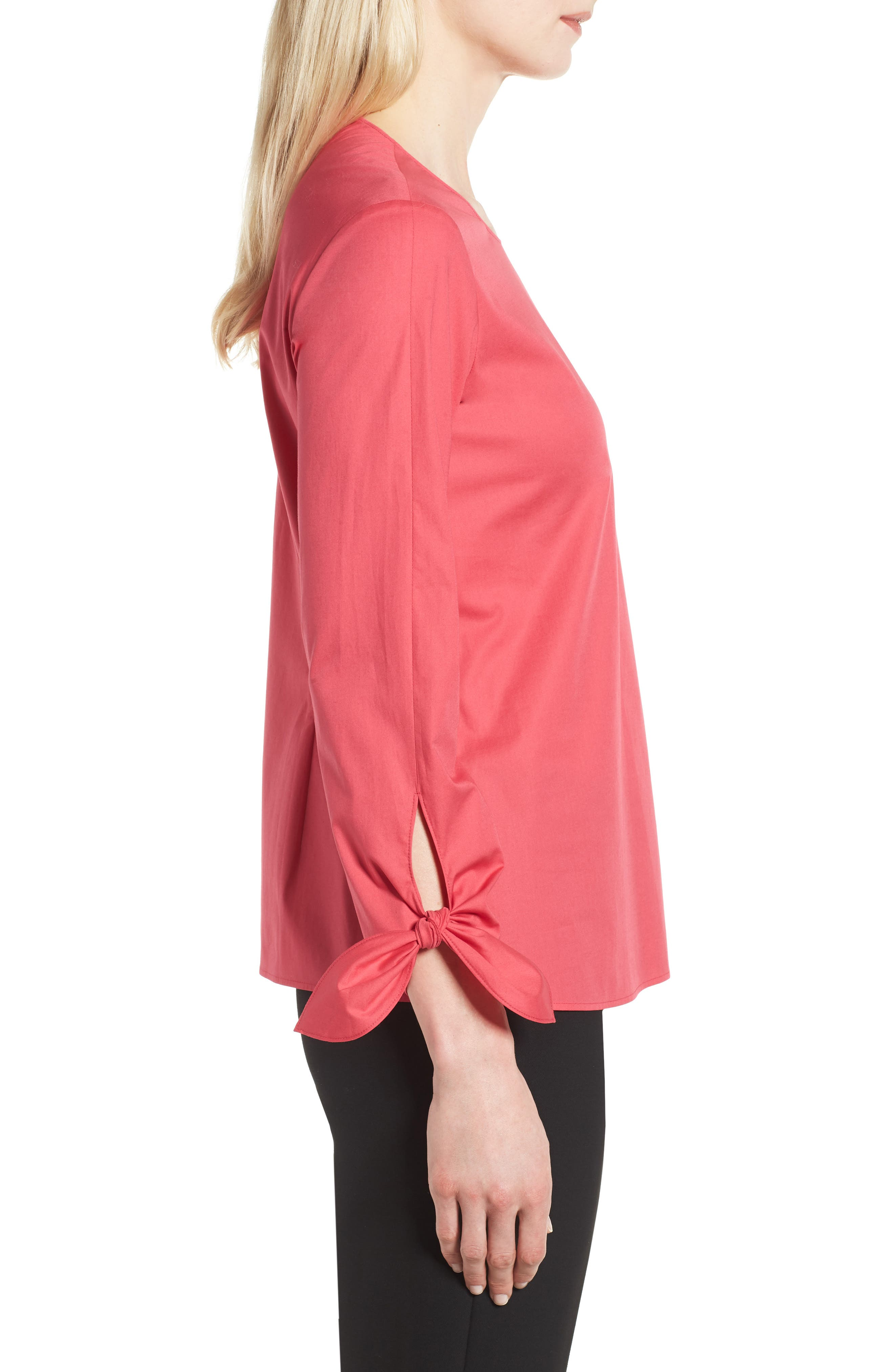 Isolema Stretch Cotton Bow Sleeve Top,                             Alternate thumbnail 3, color,                             Lychee Pink