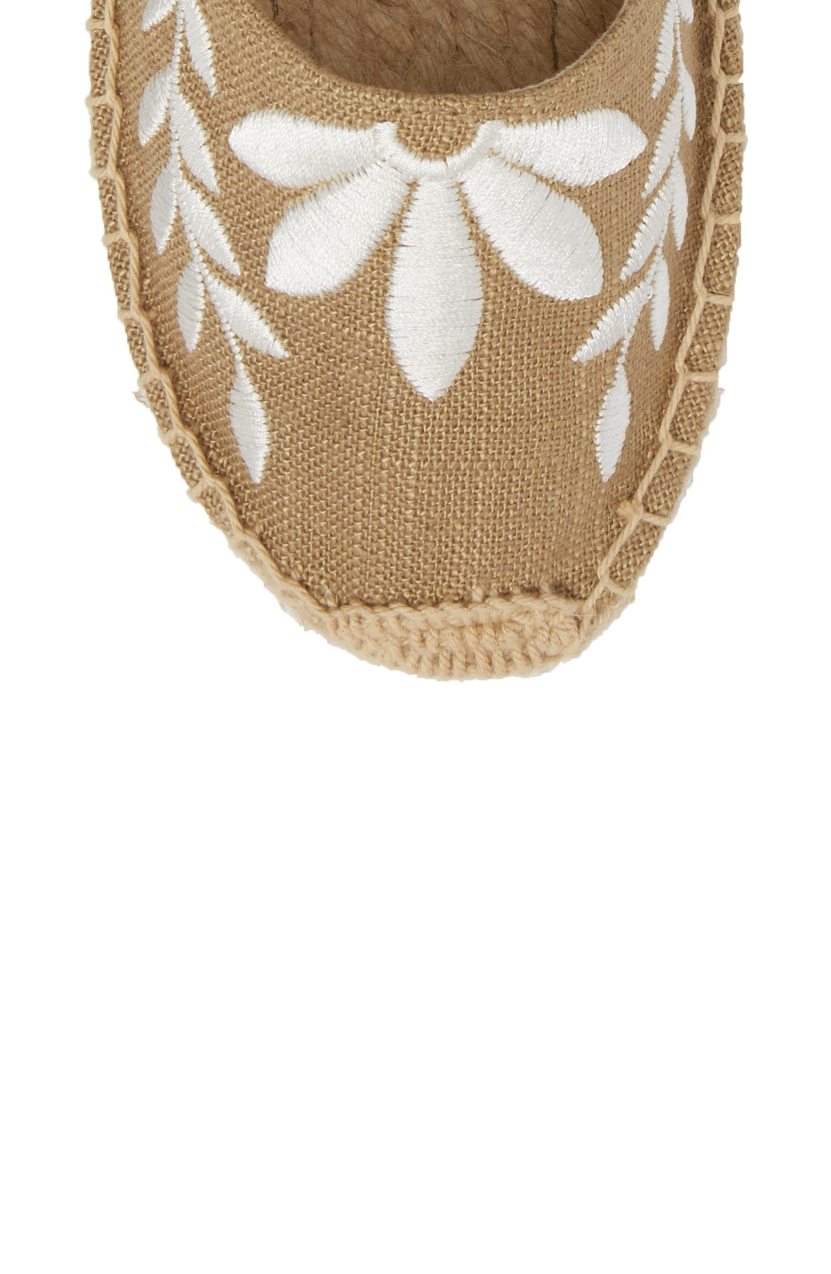 Embroidered Wraparound Espadrille Sandal,                             Alternate thumbnail 5, color,                             Khaki