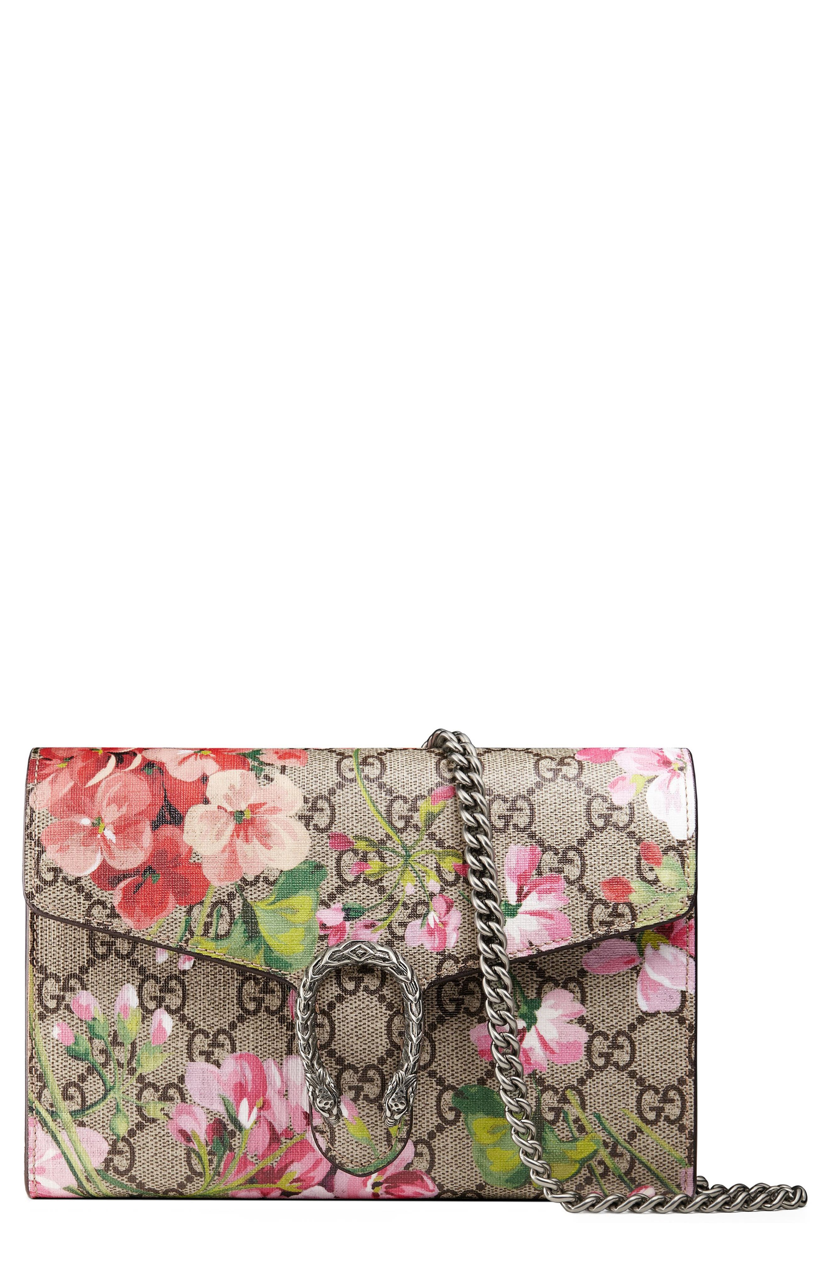 Blooms GG Supreme Canvas Wallet on a Chain,                         Main,                         color, Beige Ebony/ Dry Rose