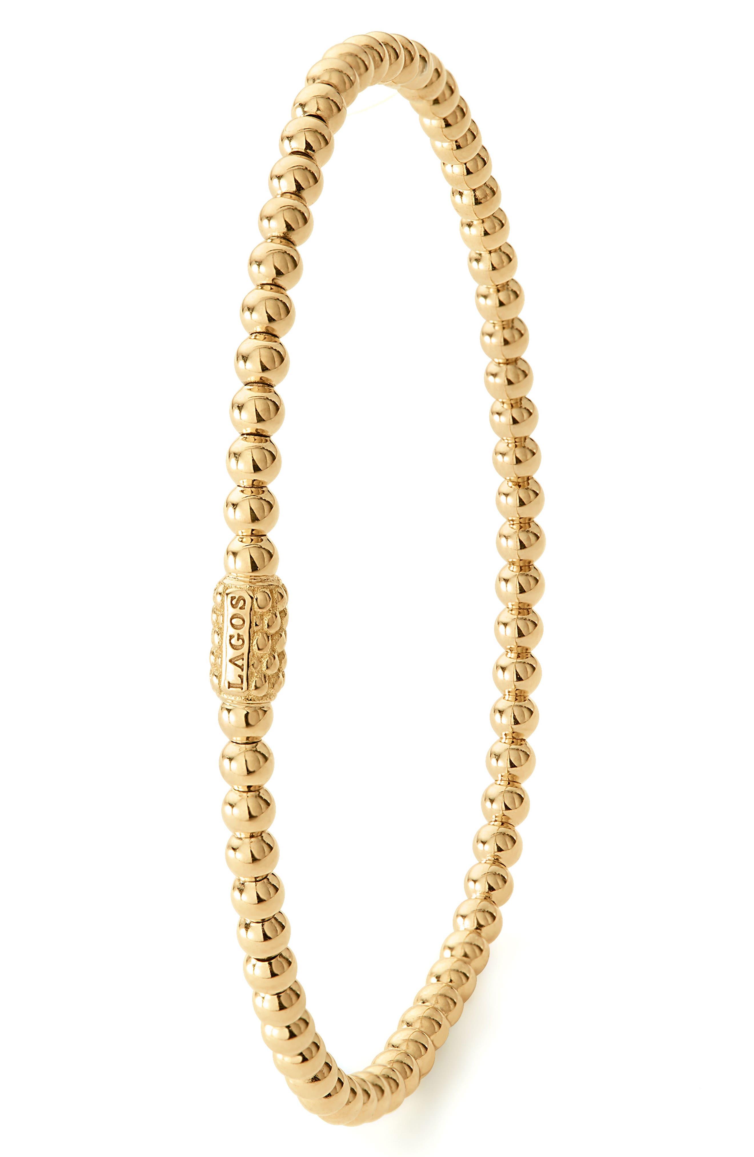 Caviar Gold Ball Stretch Bracelet,                             Alternate thumbnail 3, color,                             Gold