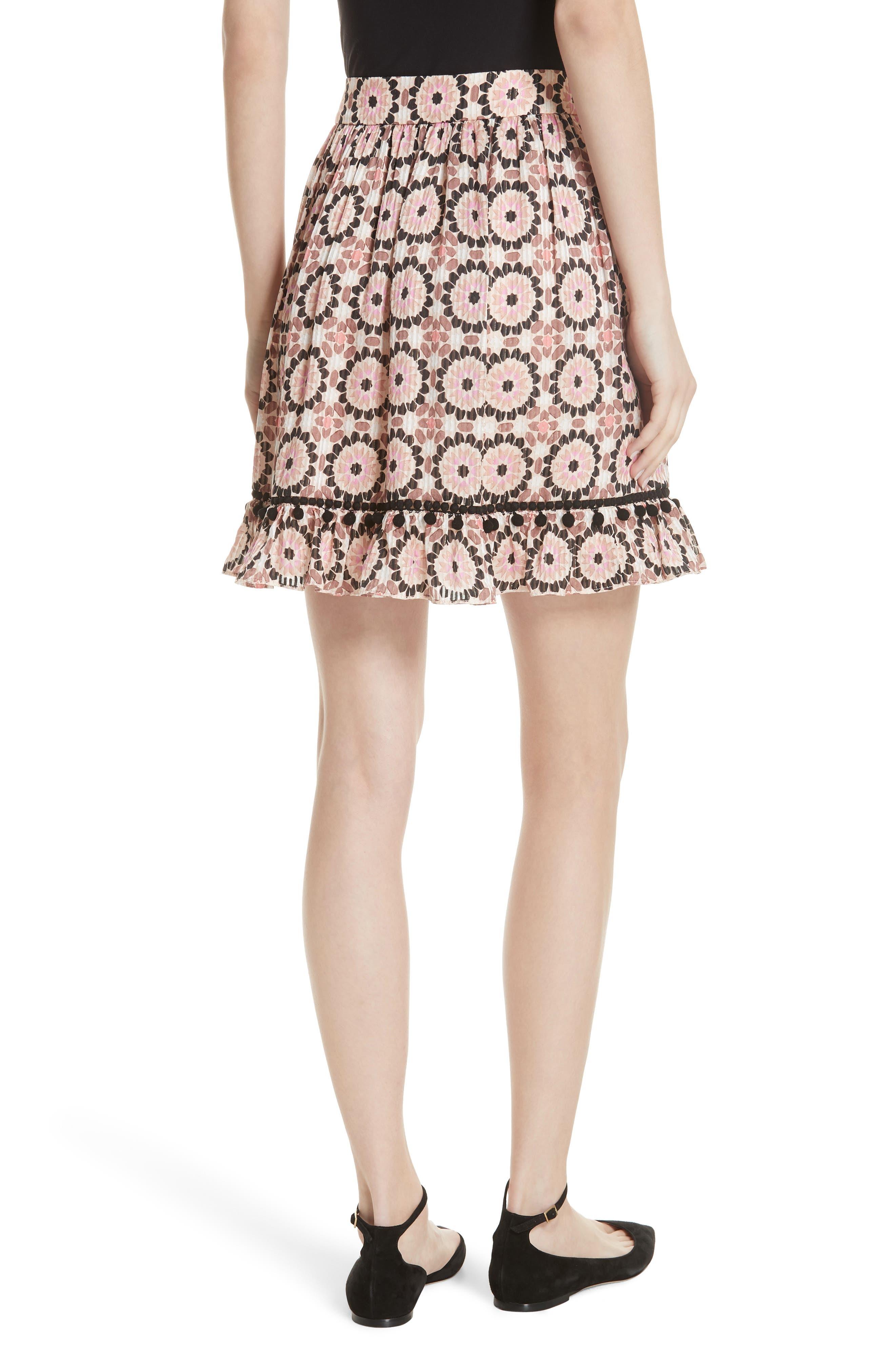 floral mosaic silk blend skirt,                             Alternate thumbnail 2, color,                             Pearl Pink Multi