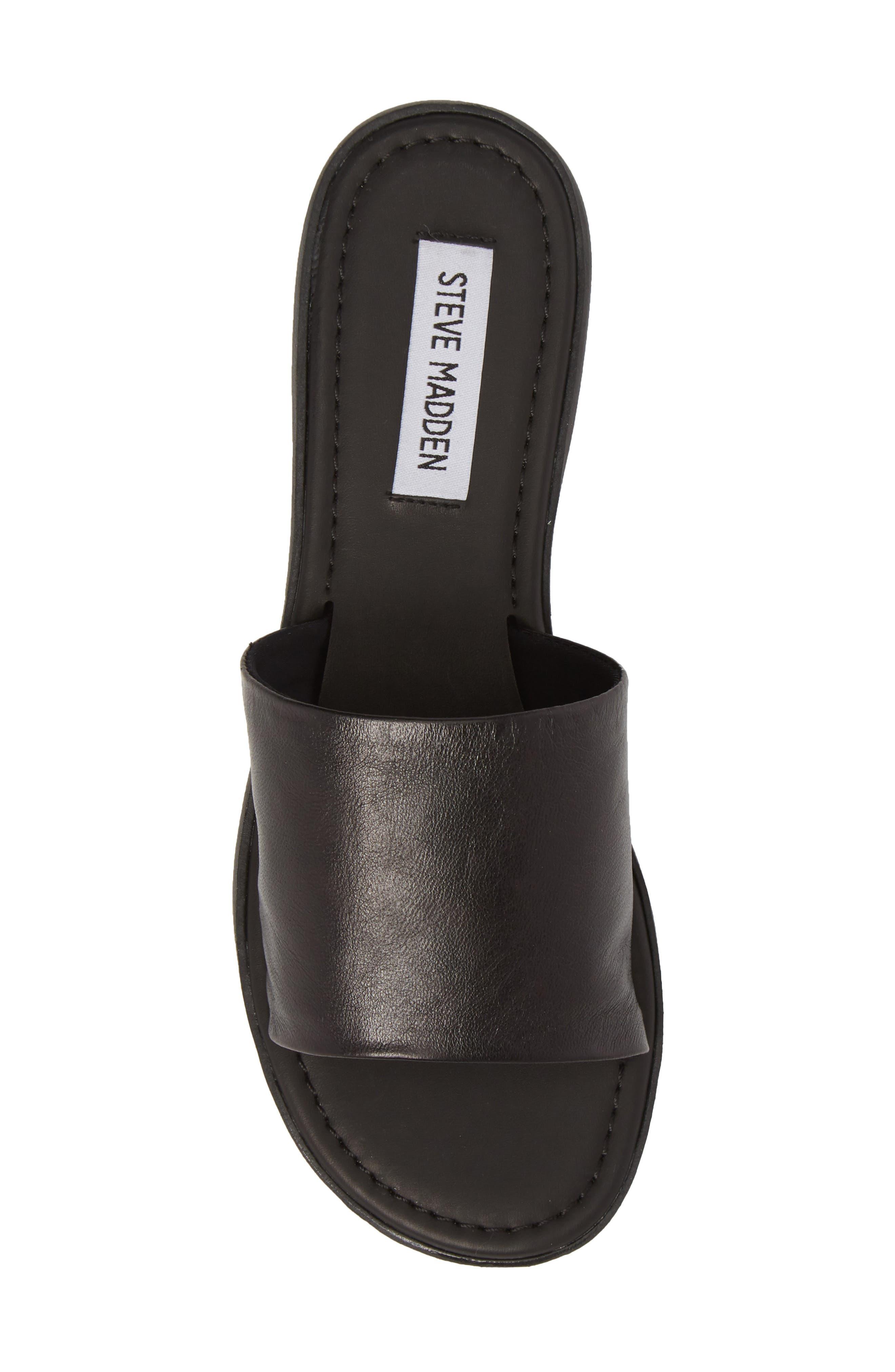 Camilla Slide Sandal,                             Alternate thumbnail 5, color,                             Black Leather