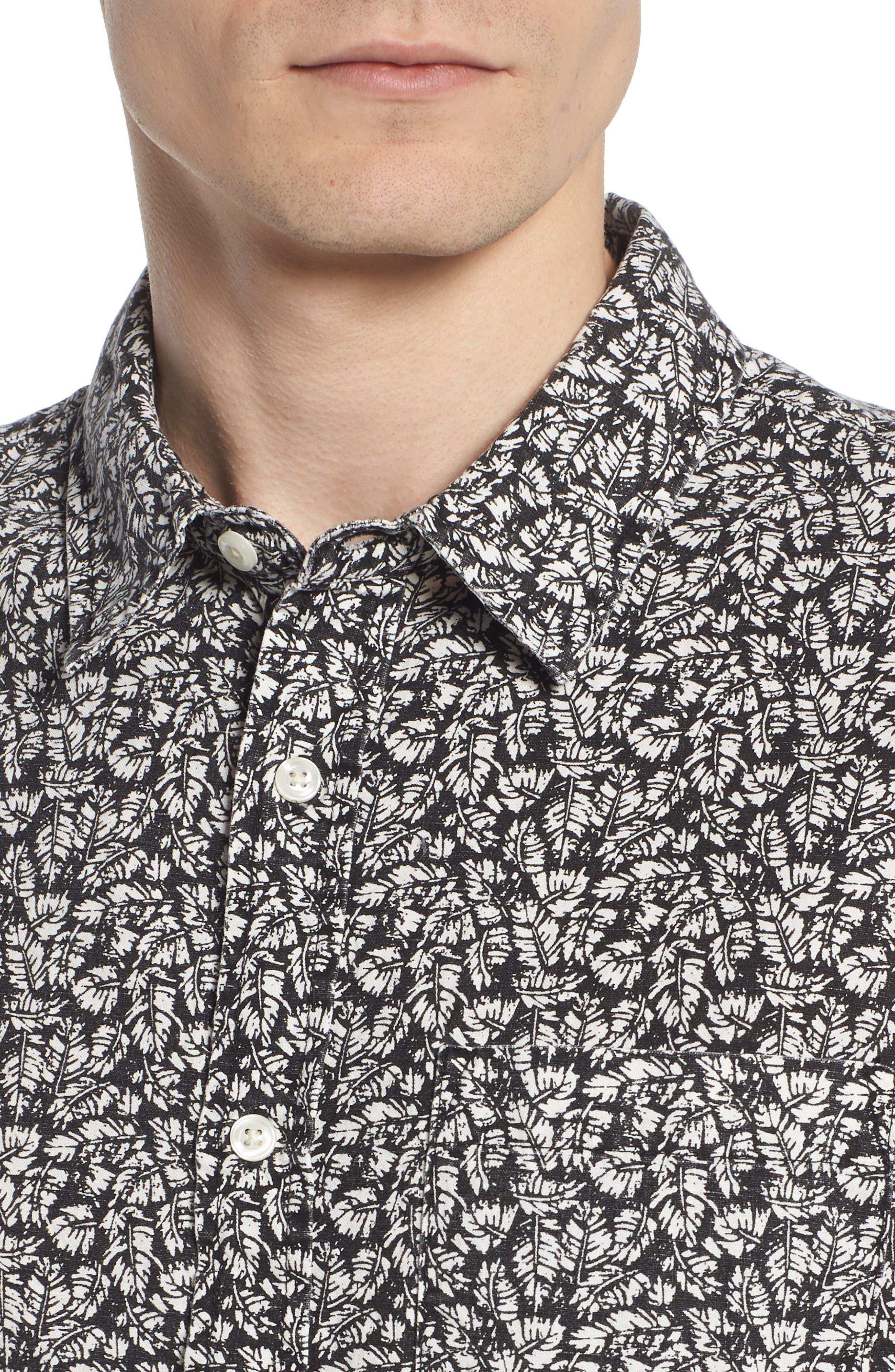 Nash Regular Fit Short Sleeve Sport Shirt,                             Alternate thumbnail 2, color,                             Palm Leaf True Black/ White