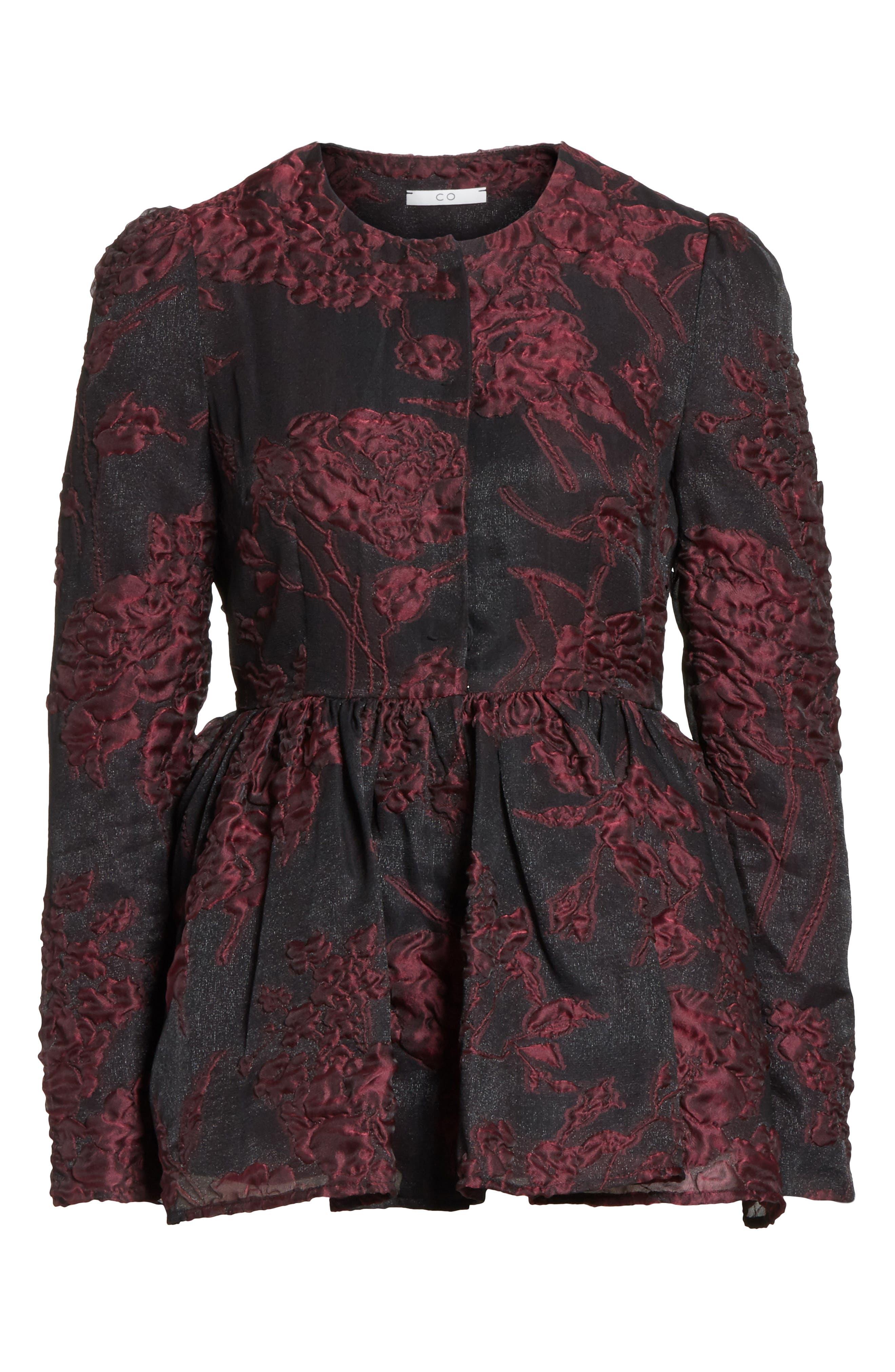 Floral Silk Blend Jacquard Peplum Jacket,                             Alternate thumbnail 6, color,                             Black/ Plum