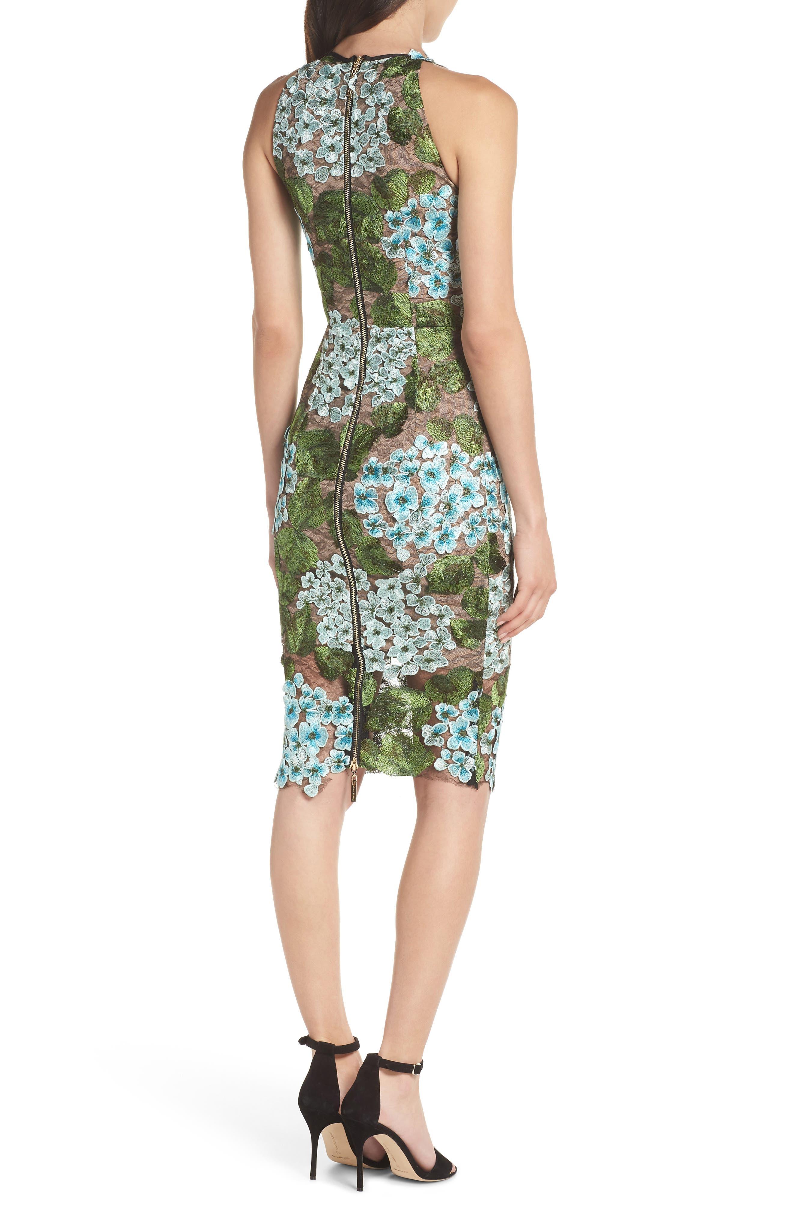 Blue Cherry Hydrangea Lace Sheath Dress,                             Alternate thumbnail 2, color,                             Multicolor