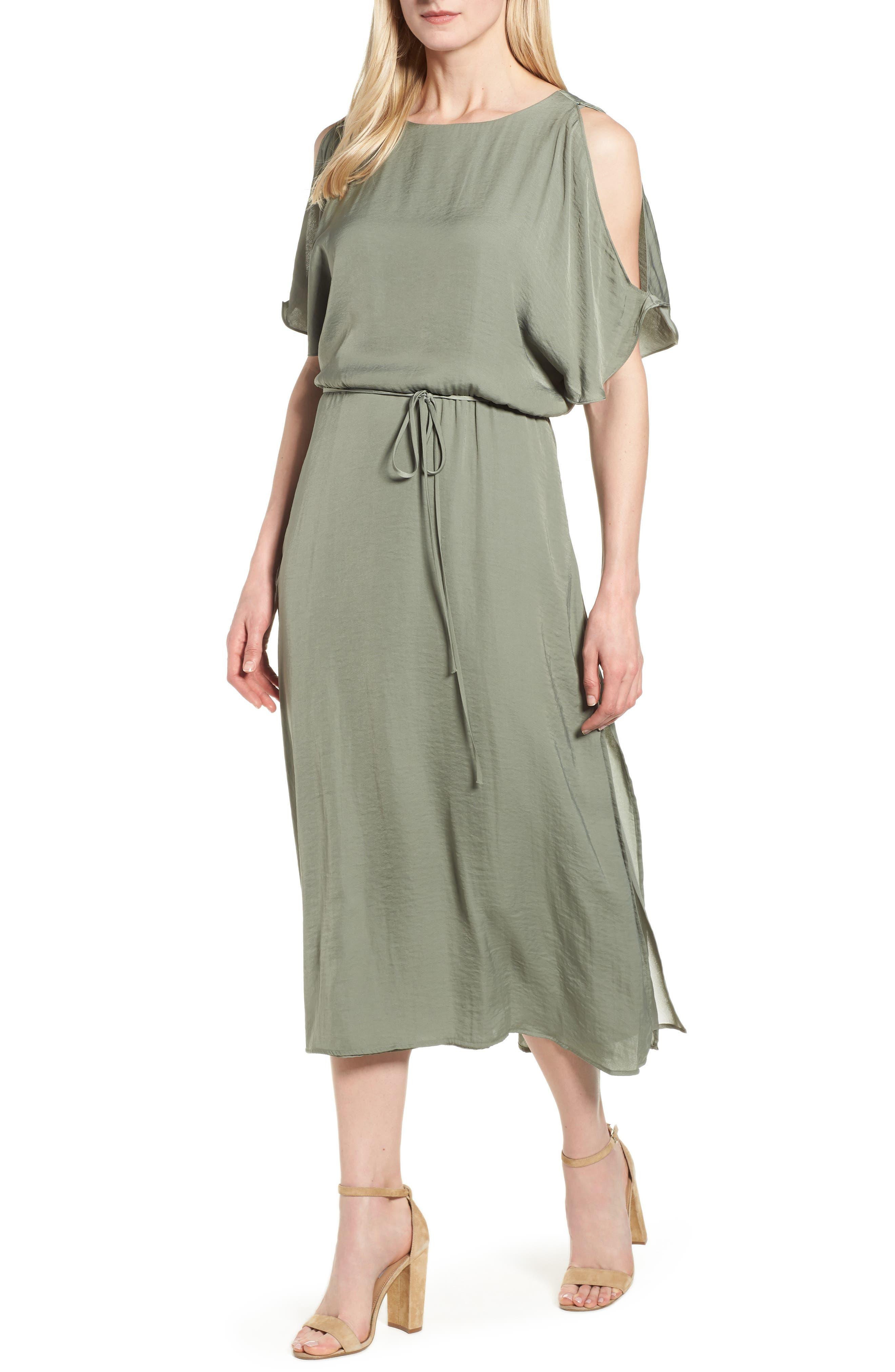 Cold Shoulder Rumpled Satin Dress,                         Main,                         color, Camo Green