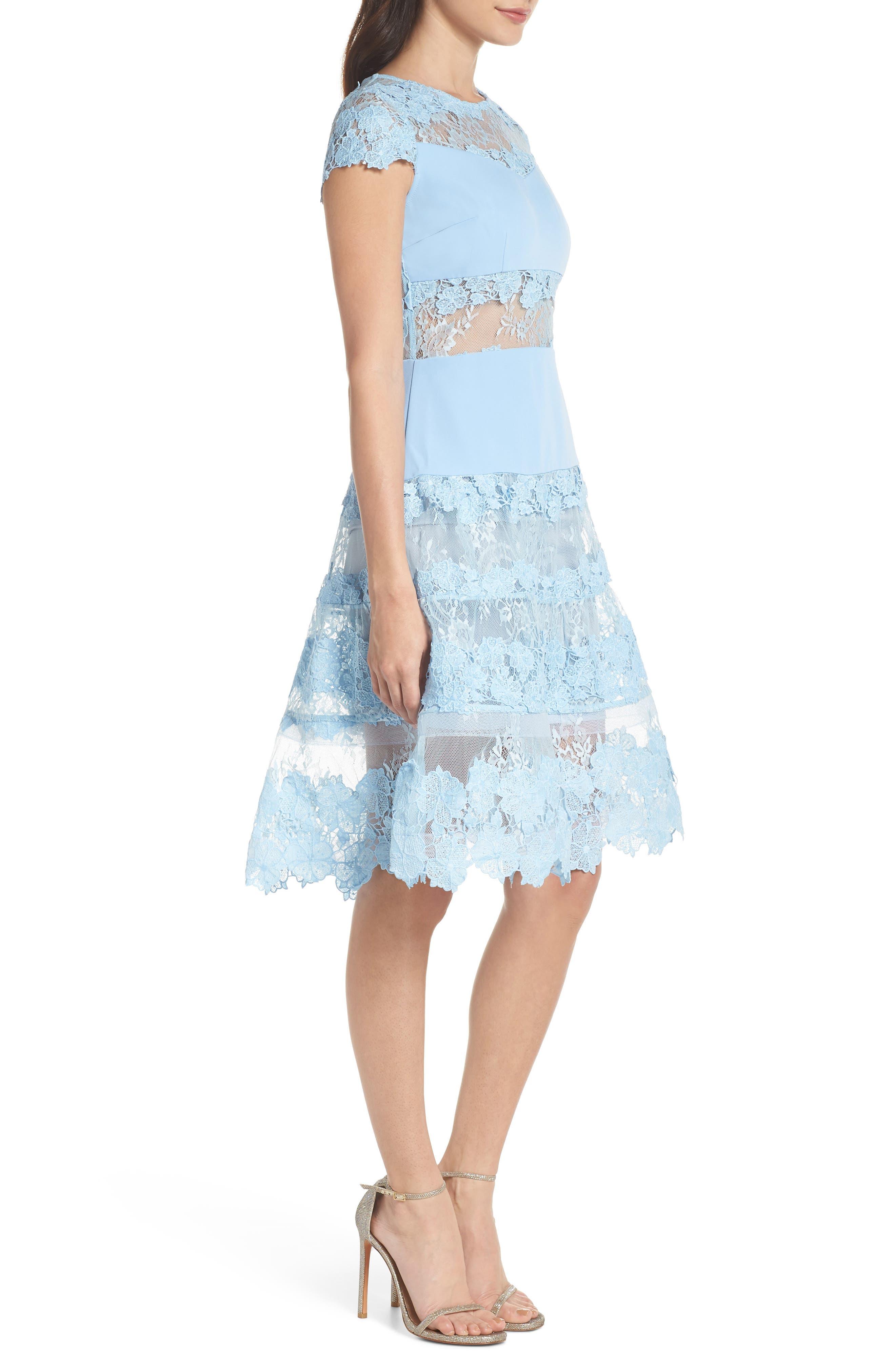Flamenco Lace Fit & Flare Dress,                             Alternate thumbnail 3, color,                             Blue