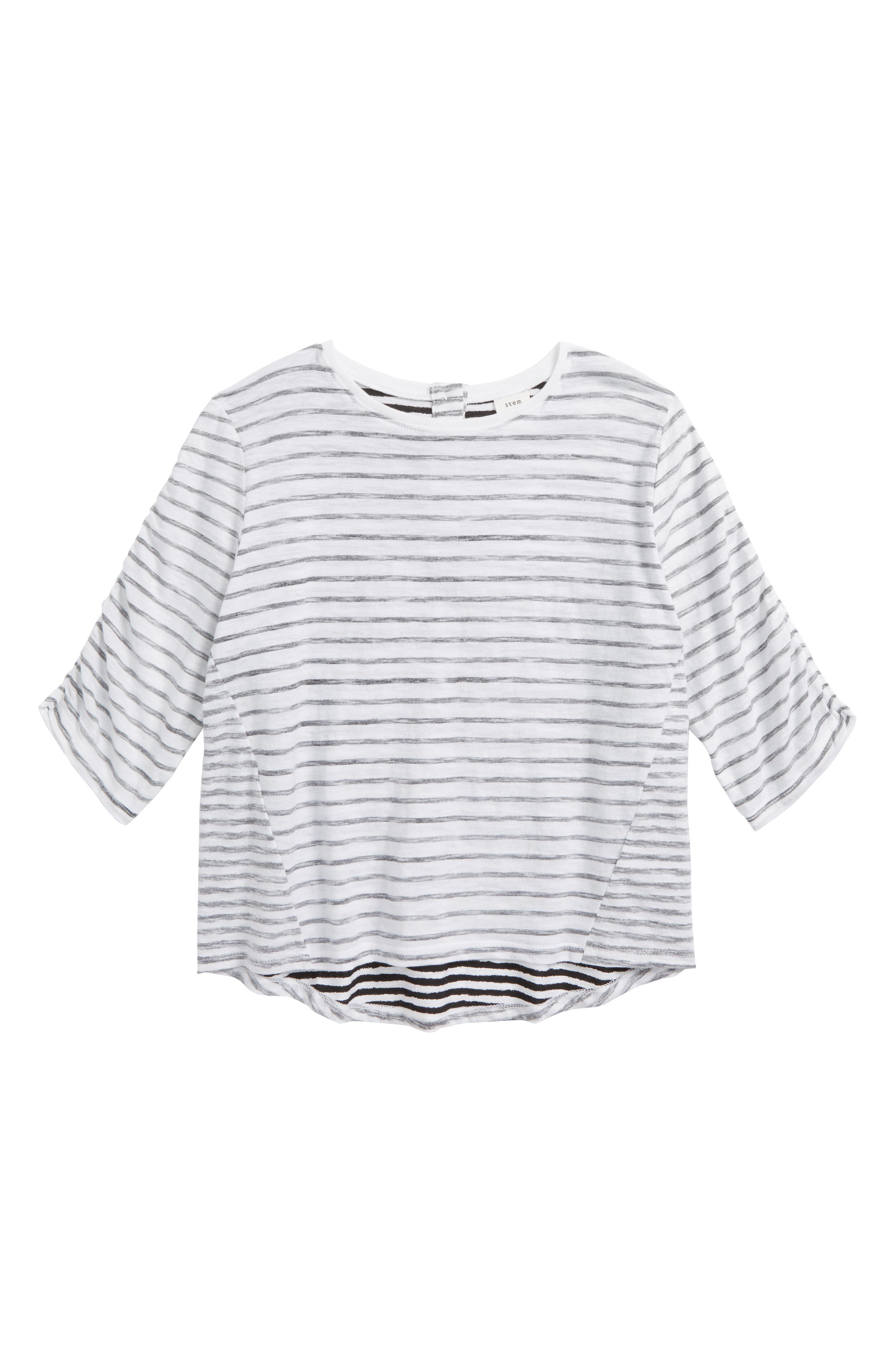 Ruched Sleeve Tee,                         Main,                         color, White- Black Stripe