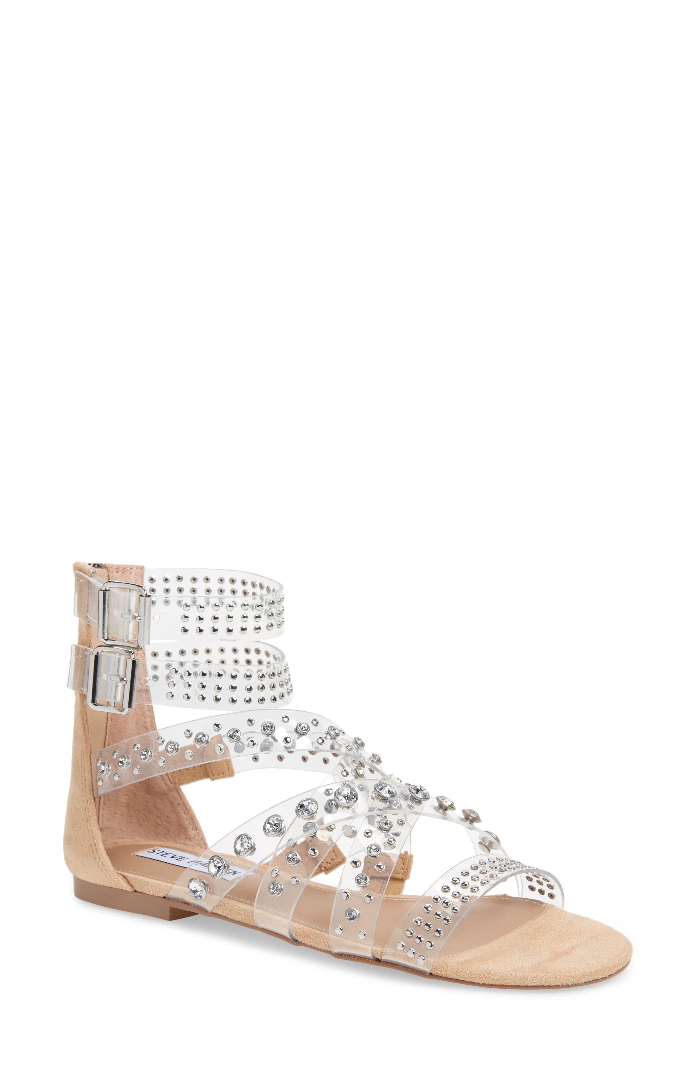 Shift Embellished Gladiator Sandal,                             Main thumbnail 1, color,                             Clear