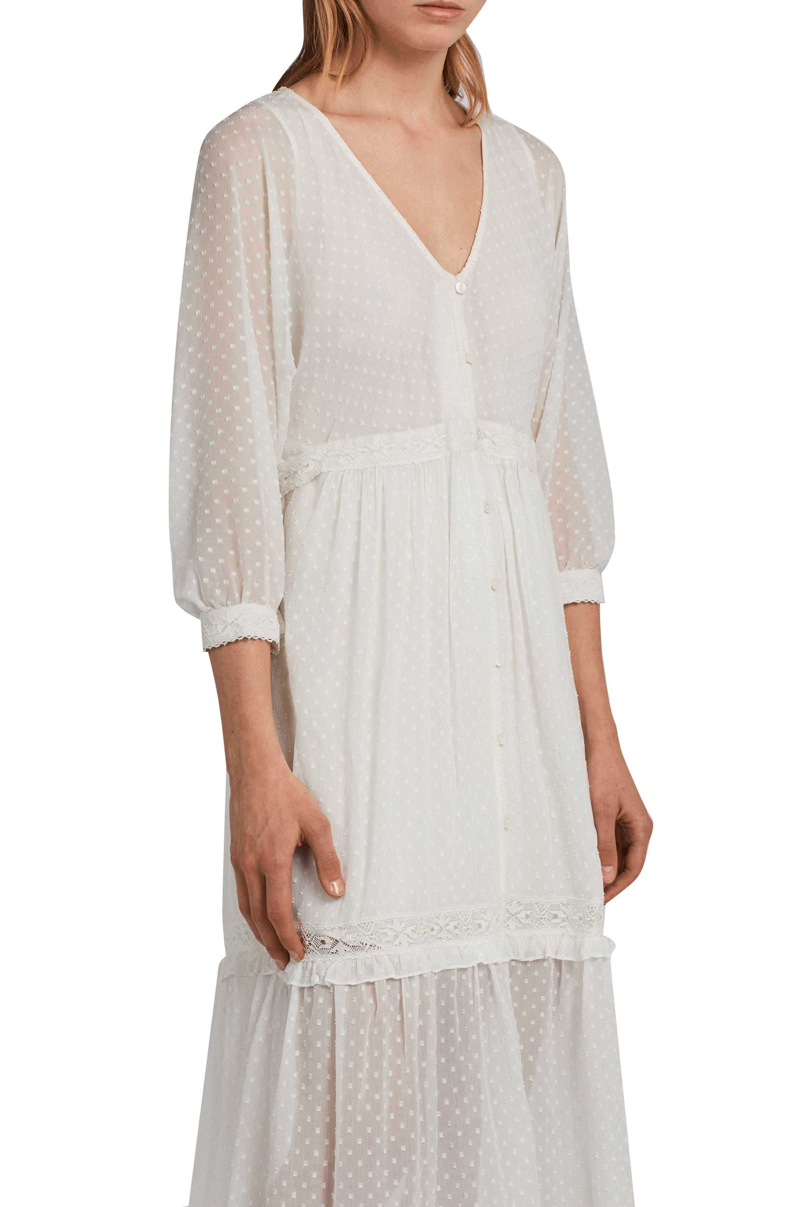Palma Polka Dot Dress,                             Alternate thumbnail 4, color,                             Chalk White