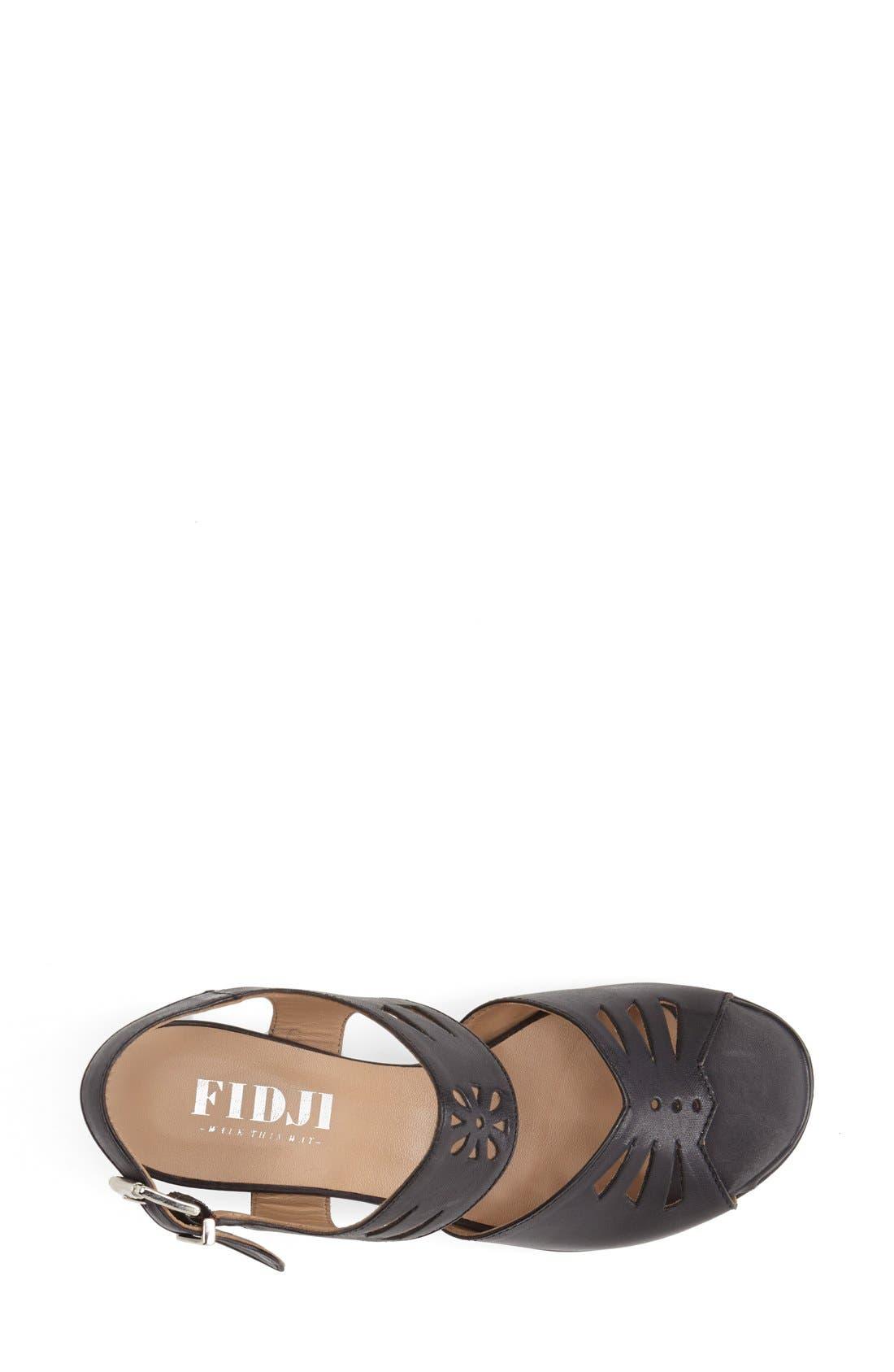 'V112' Perforated Leather Sandal,                             Alternate thumbnail 3, color,                             Black
