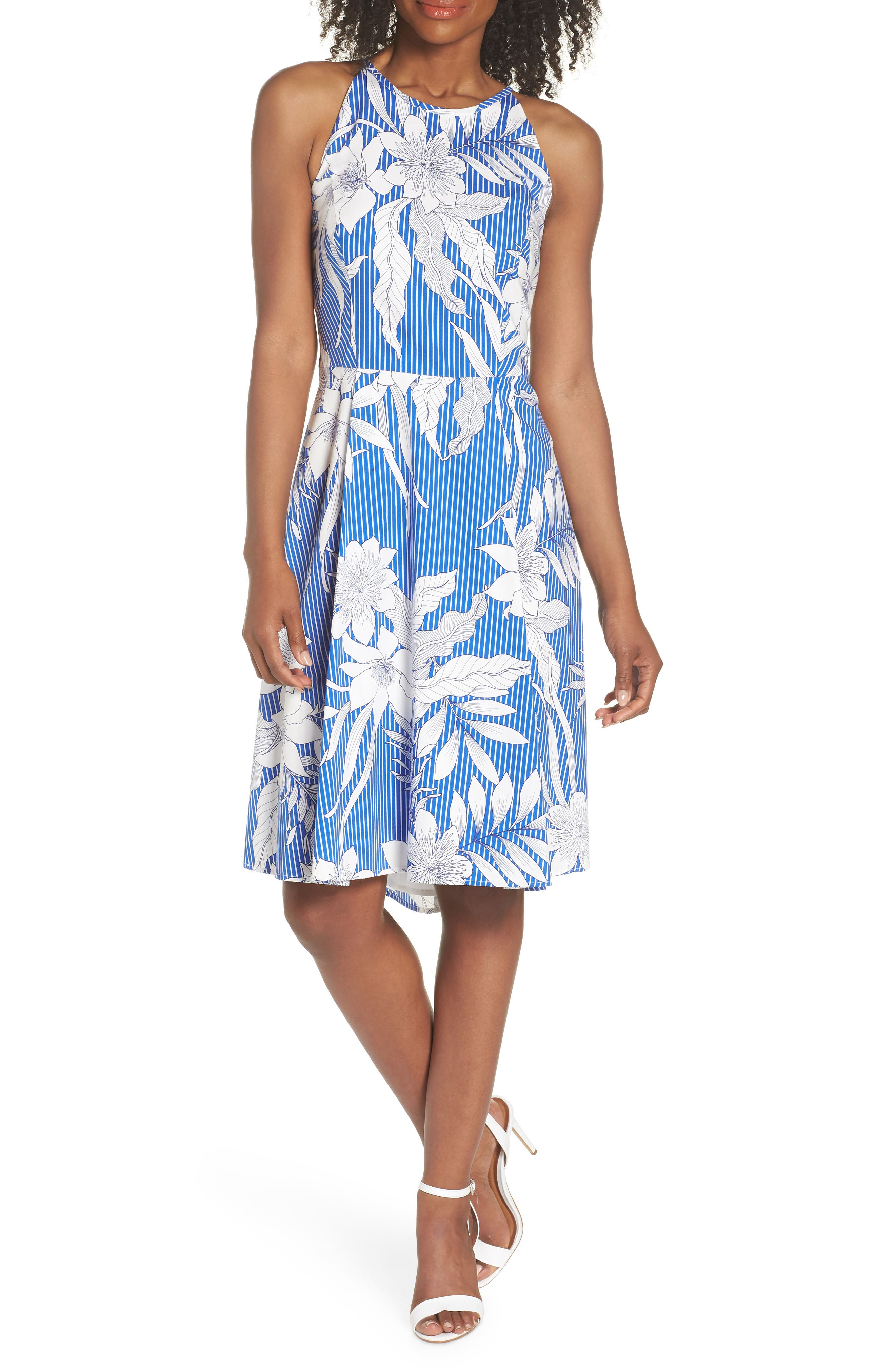 Print Poplin Fit & Flare Dress,                             Main thumbnail 1, color,                             Soft White/ Blue