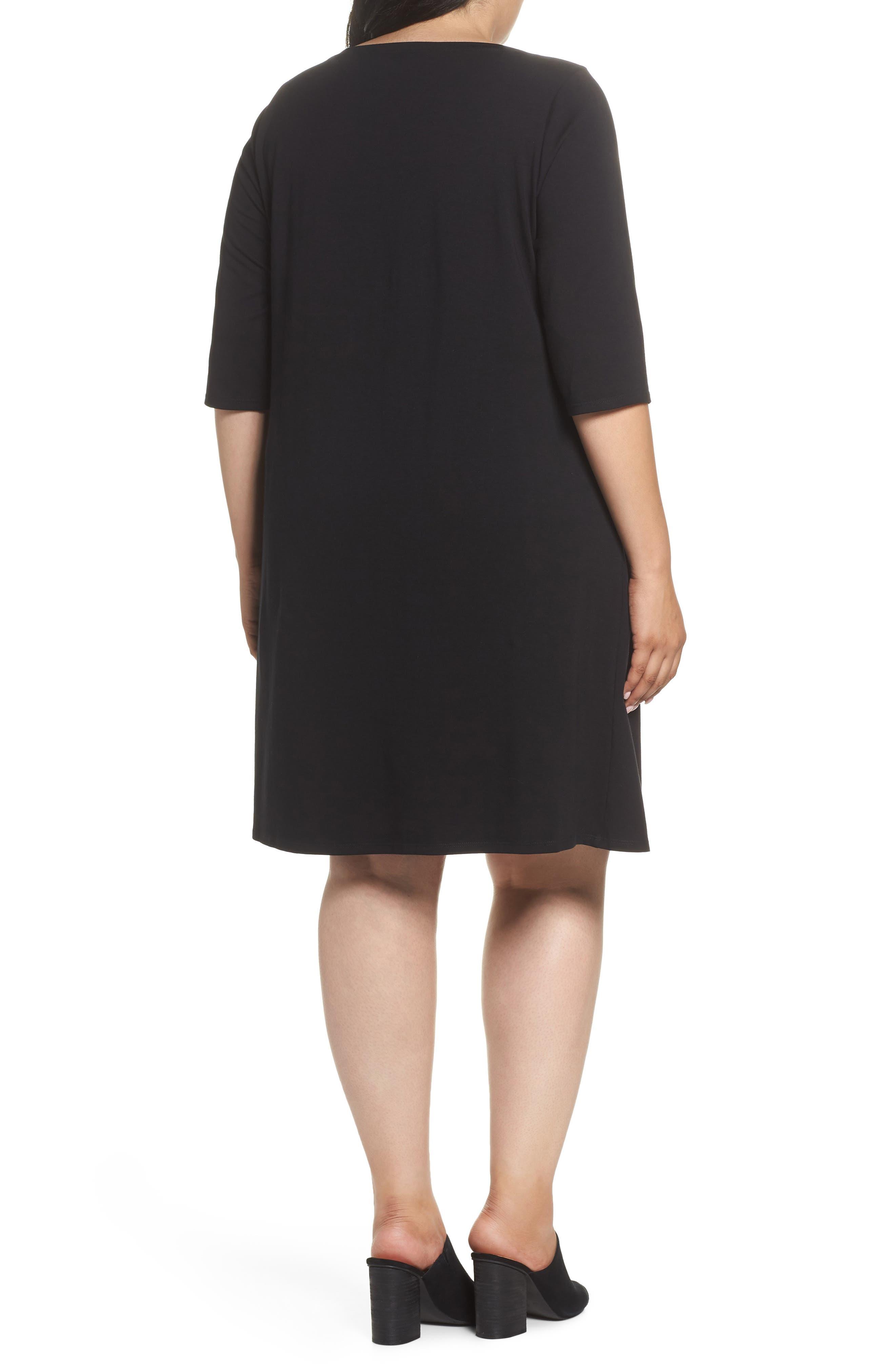 Stretch Organic Cotton Shift Dress,                             Alternate thumbnail 2, color,                             Black