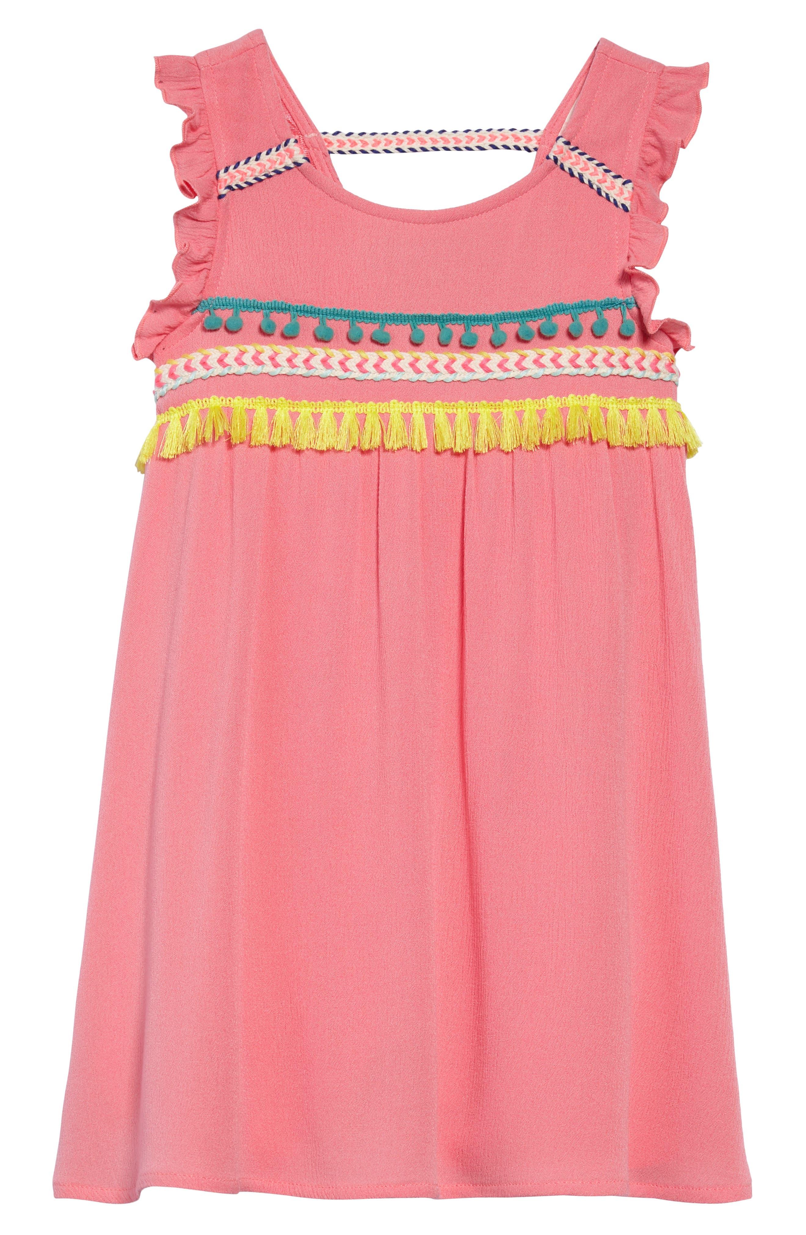 Trim Babydoll Dress,                             Main thumbnail 1, color,                             Coral