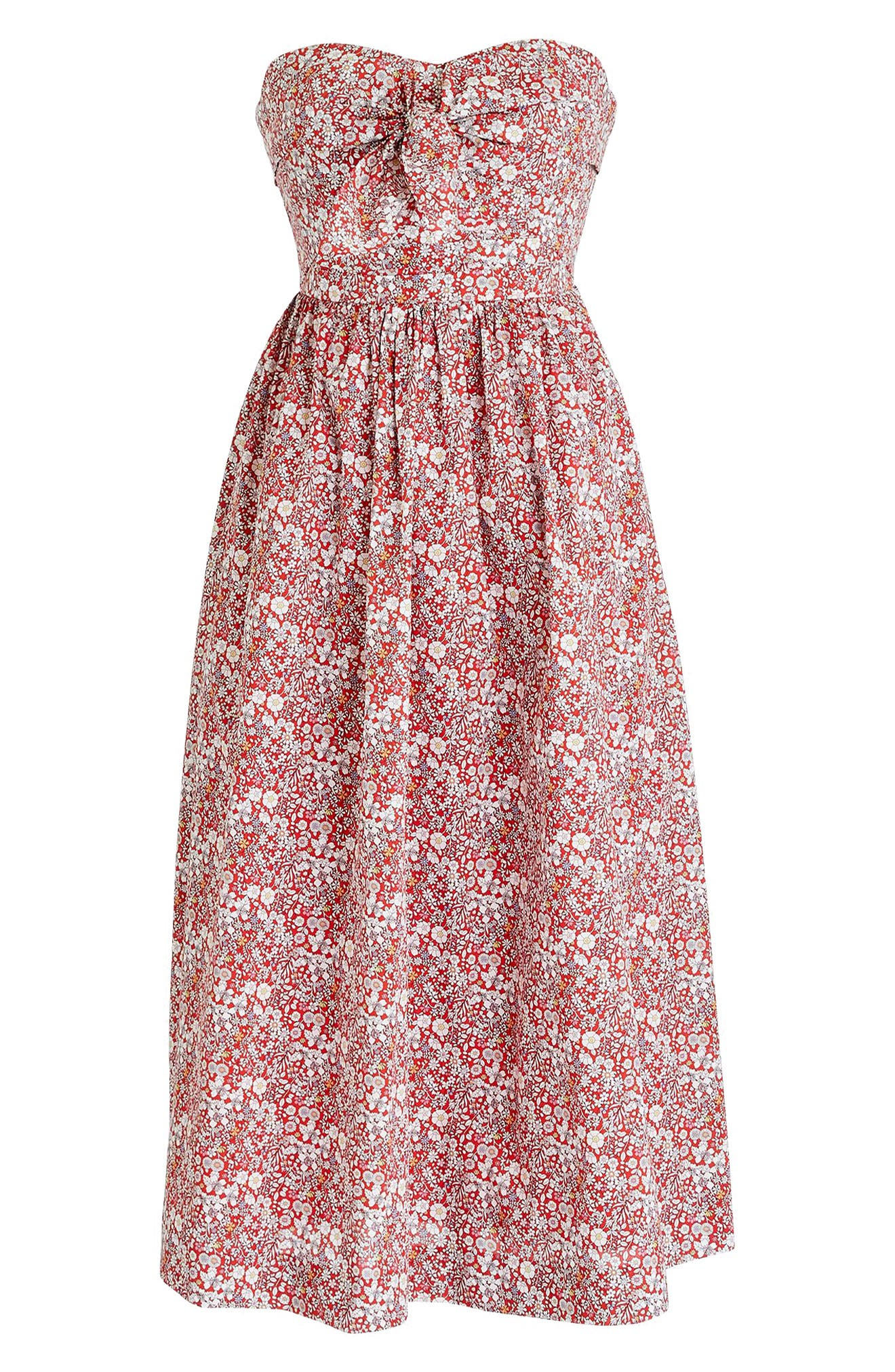 Liberty Tie Front Strapless Dress,                             Alternate thumbnail 4, color,                             Cherry Multi