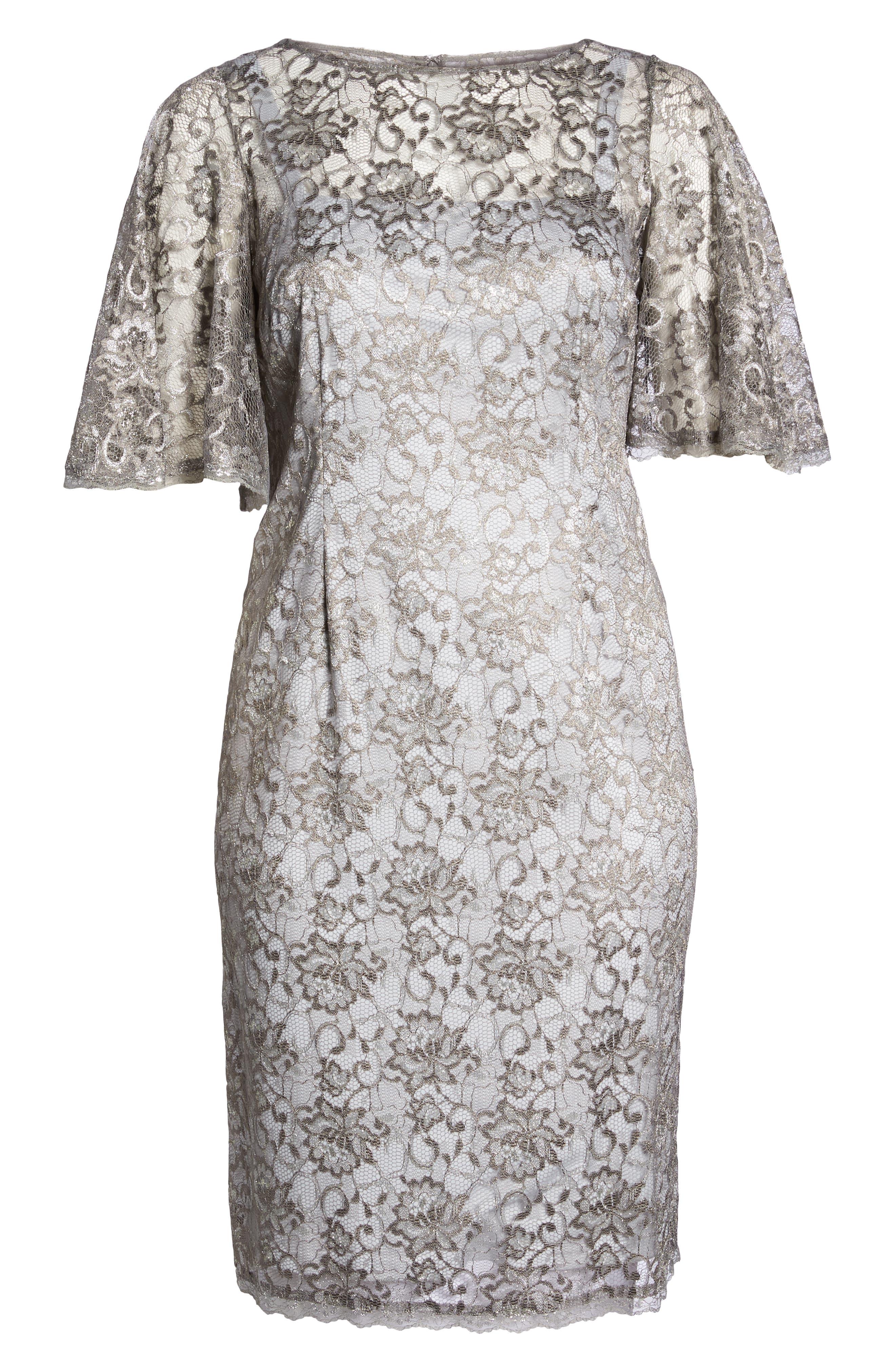 Flutter Sleeve Lace Sheath Dress,                             Alternate thumbnail 6, color,                             Silver