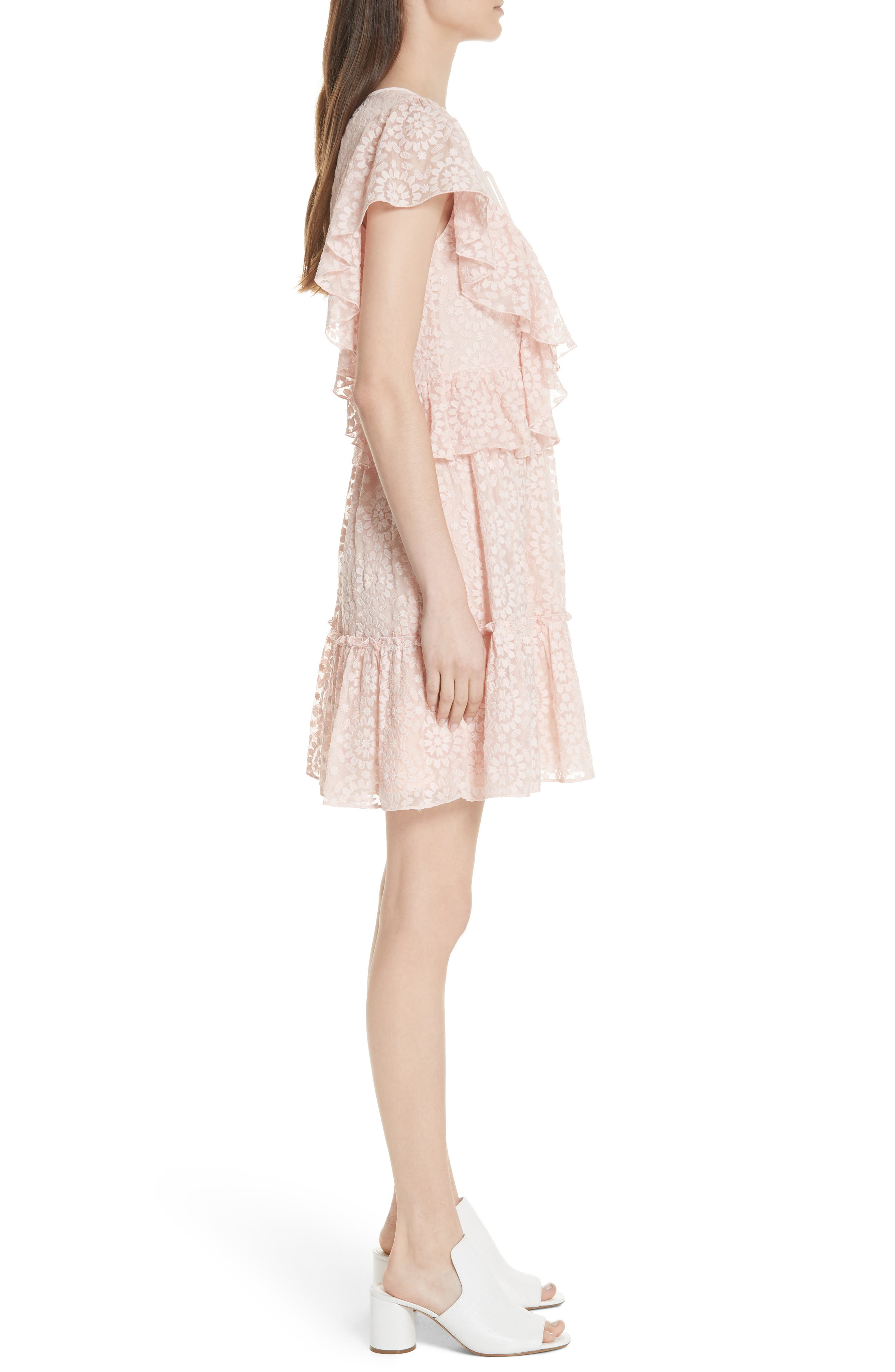 embroidered cotton & silk chiffon dress,                             Alternate thumbnail 5, color,                             Pearl  Pink