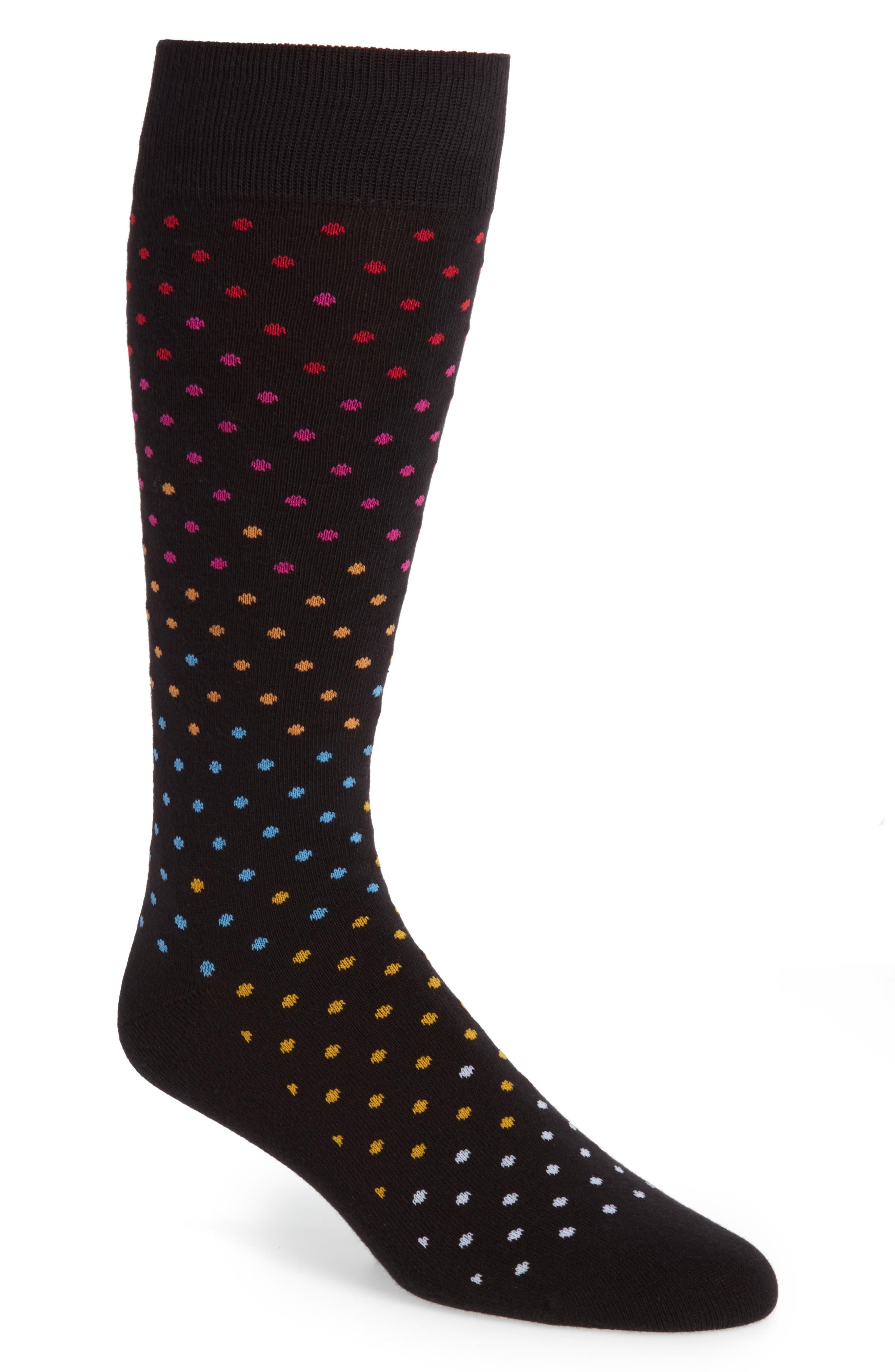 Gradient Dot Socks,                         Main,                         color, Black/ Yellow