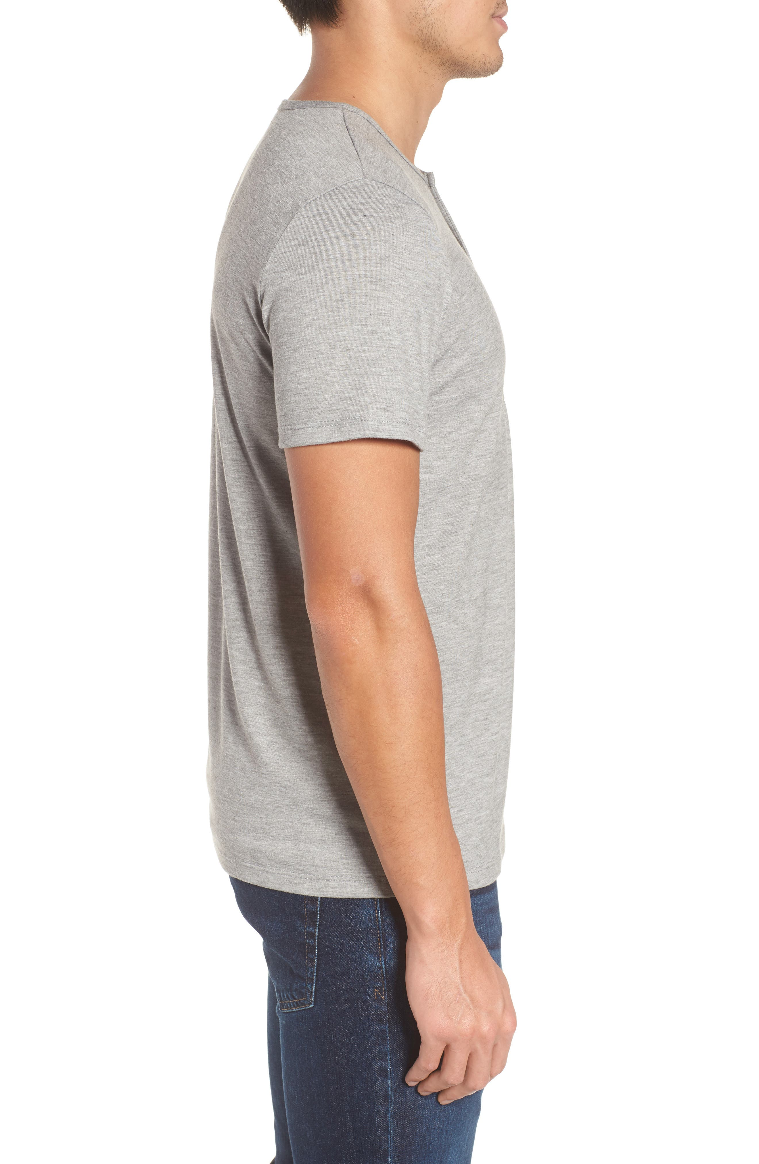 Slim Fit Short Sleeve Performance Henley T-Shirt,                             Alternate thumbnail 3, color,                             Grey