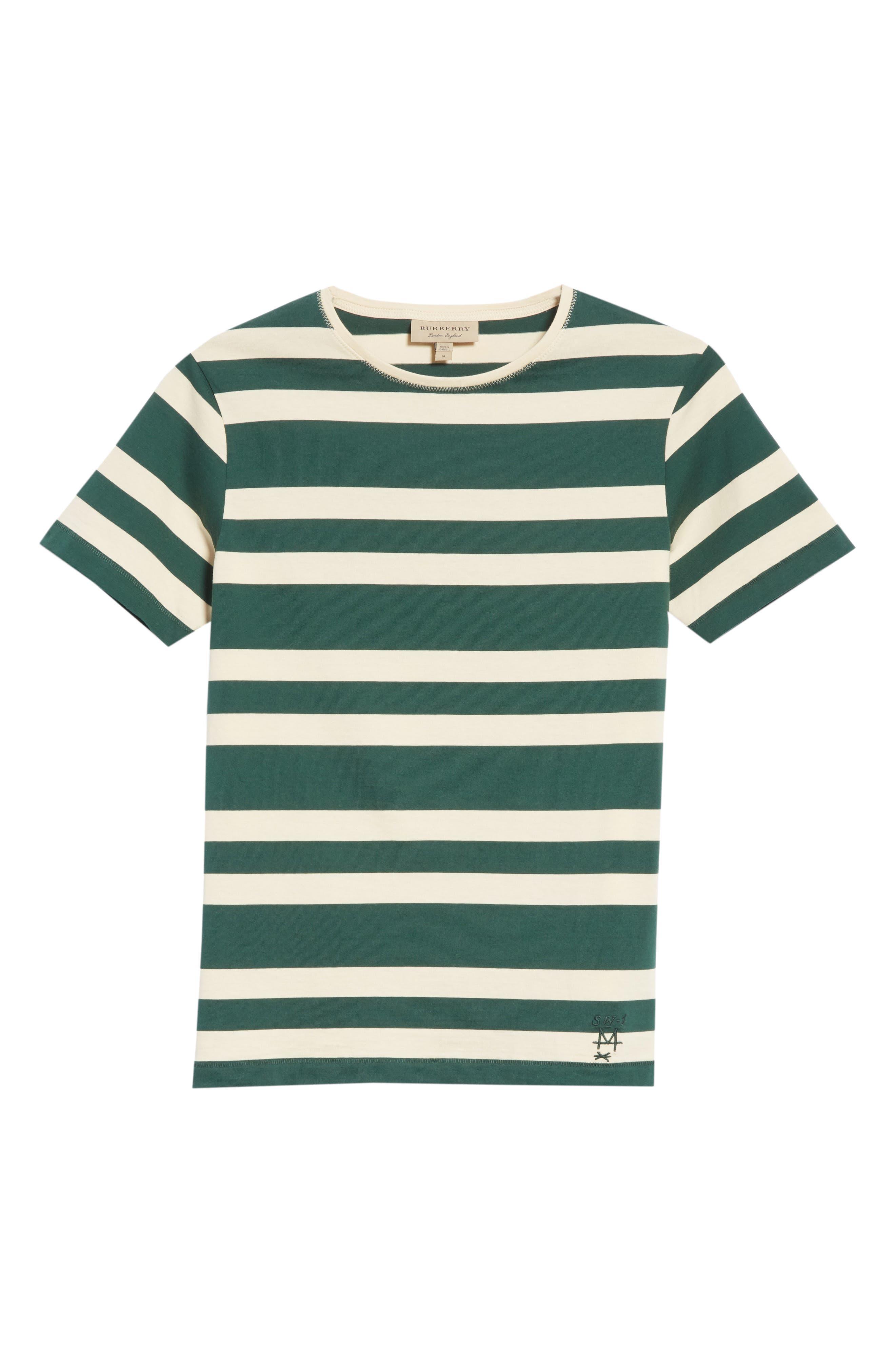 Crawley Stripe T-Shirt,                             Alternate thumbnail 6, color,                             Off White/ Pine Green