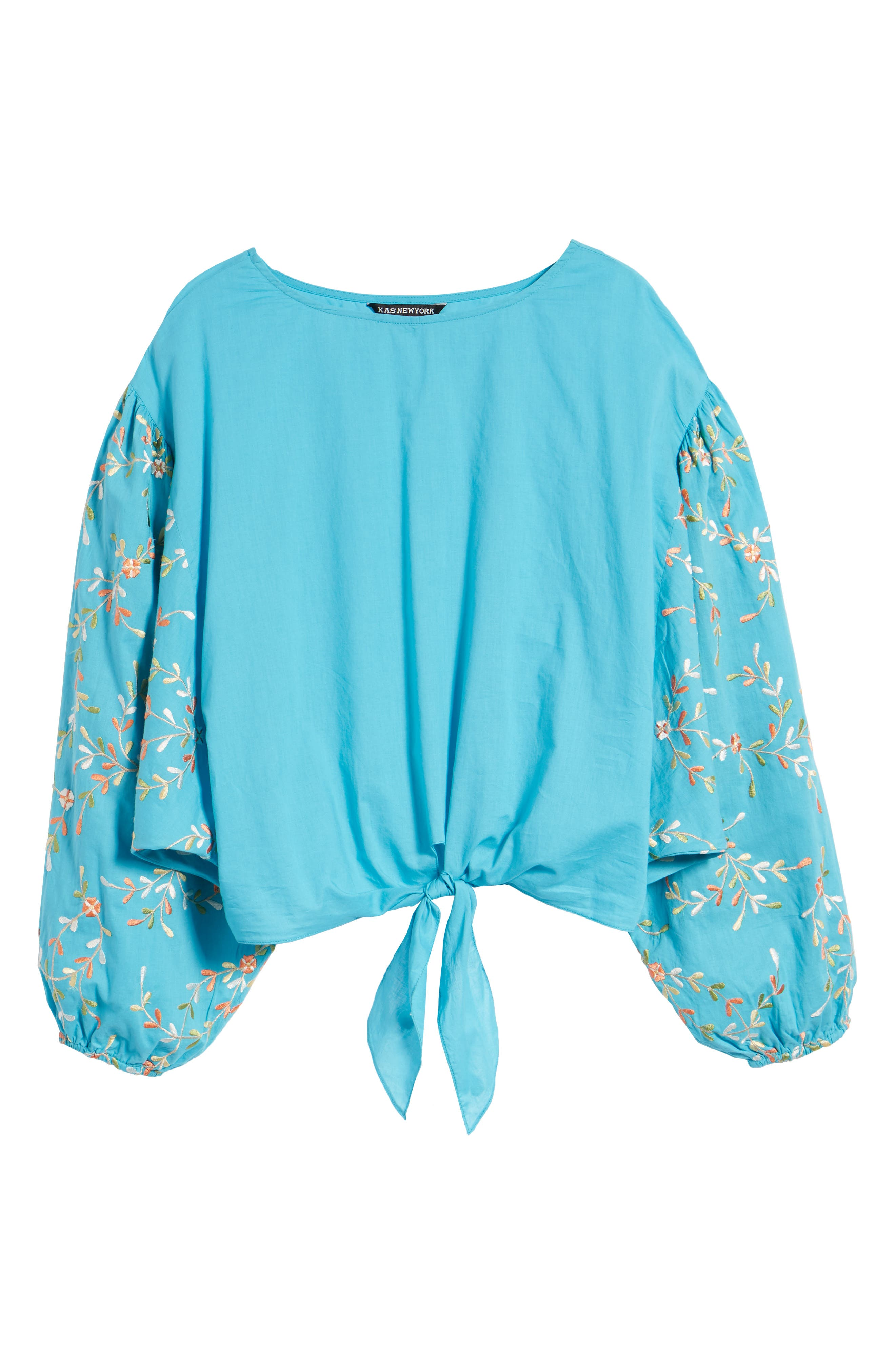Coline Front Tie Embroidered Sleeve Blouse,                             Alternate thumbnail 7, color,                             Turquoise