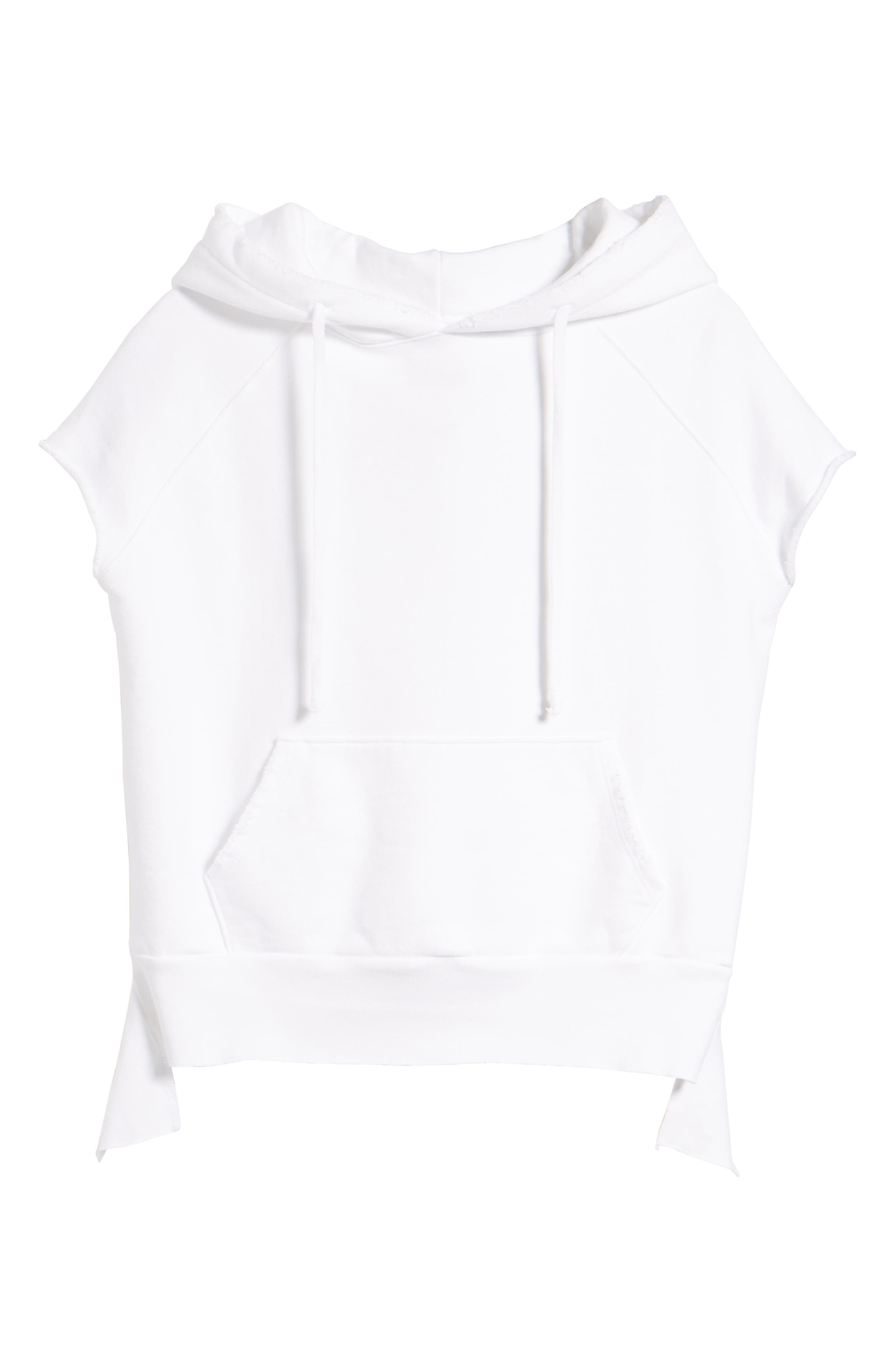 Short Sleeve Pullover Hoodie,                             Alternate thumbnail 7, color,                             Whiteout