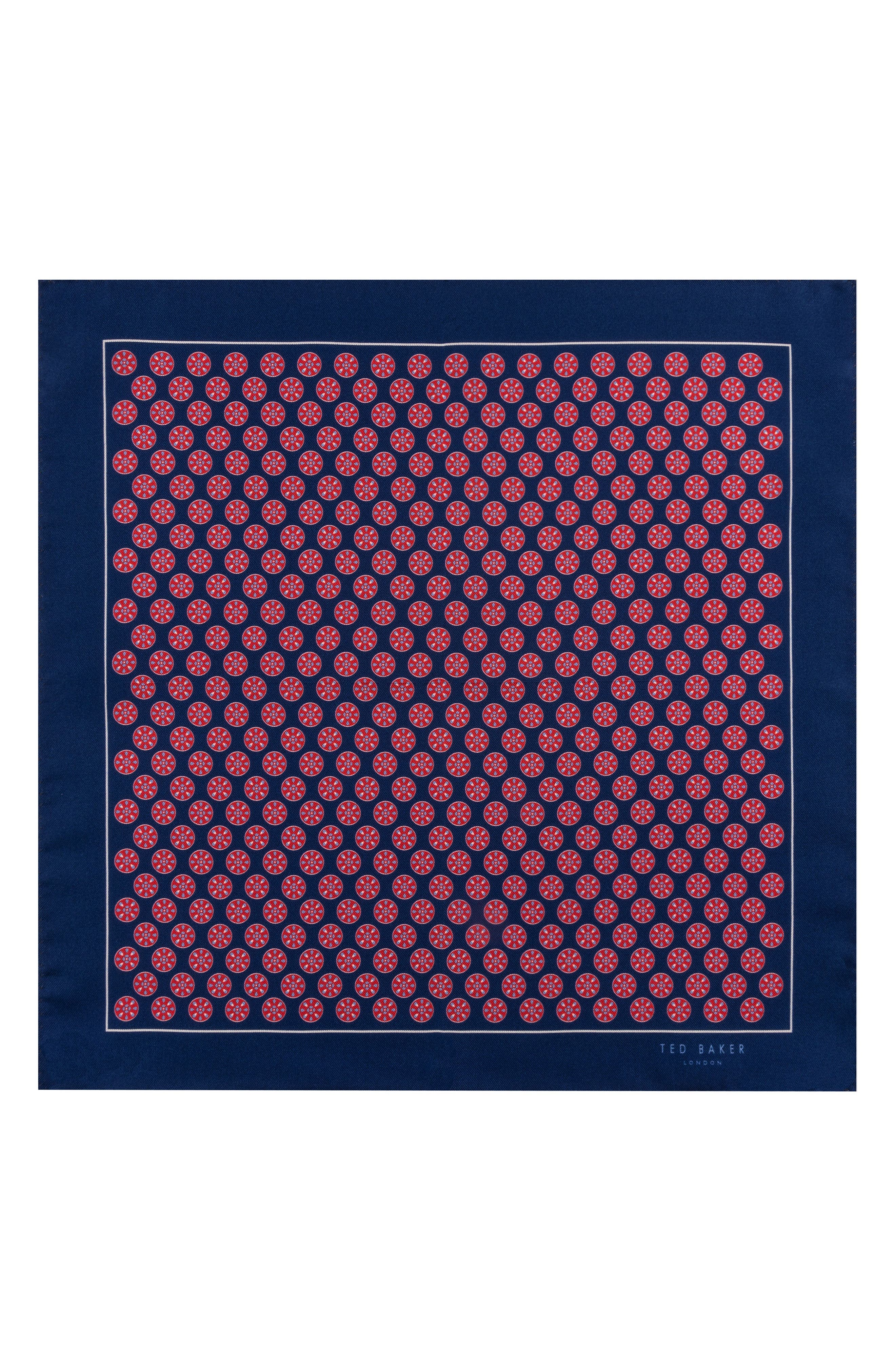 Wheel Medallion Silk Pocket Square,                             Alternate thumbnail 2, color,                             Red