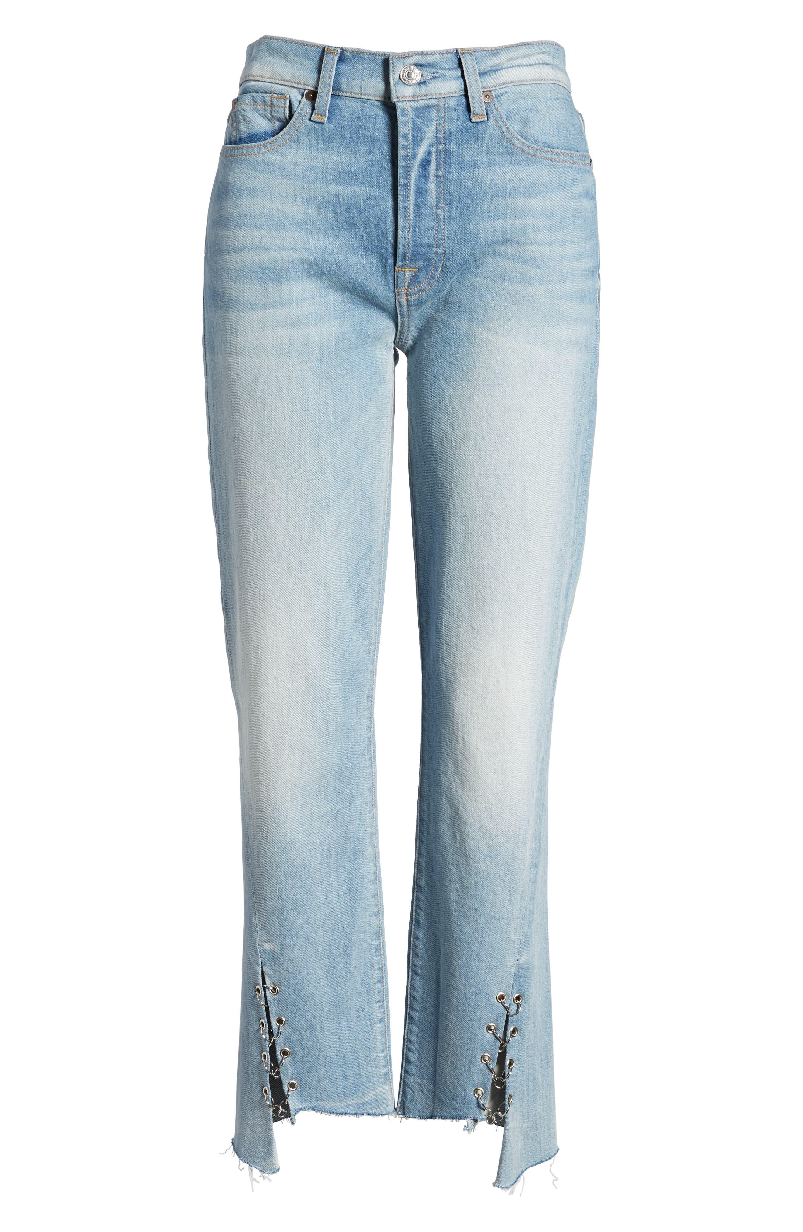 Edie Grommet & Rings Seam Crop Jeans,                             Alternate thumbnail 7, color,                             Light Riviera