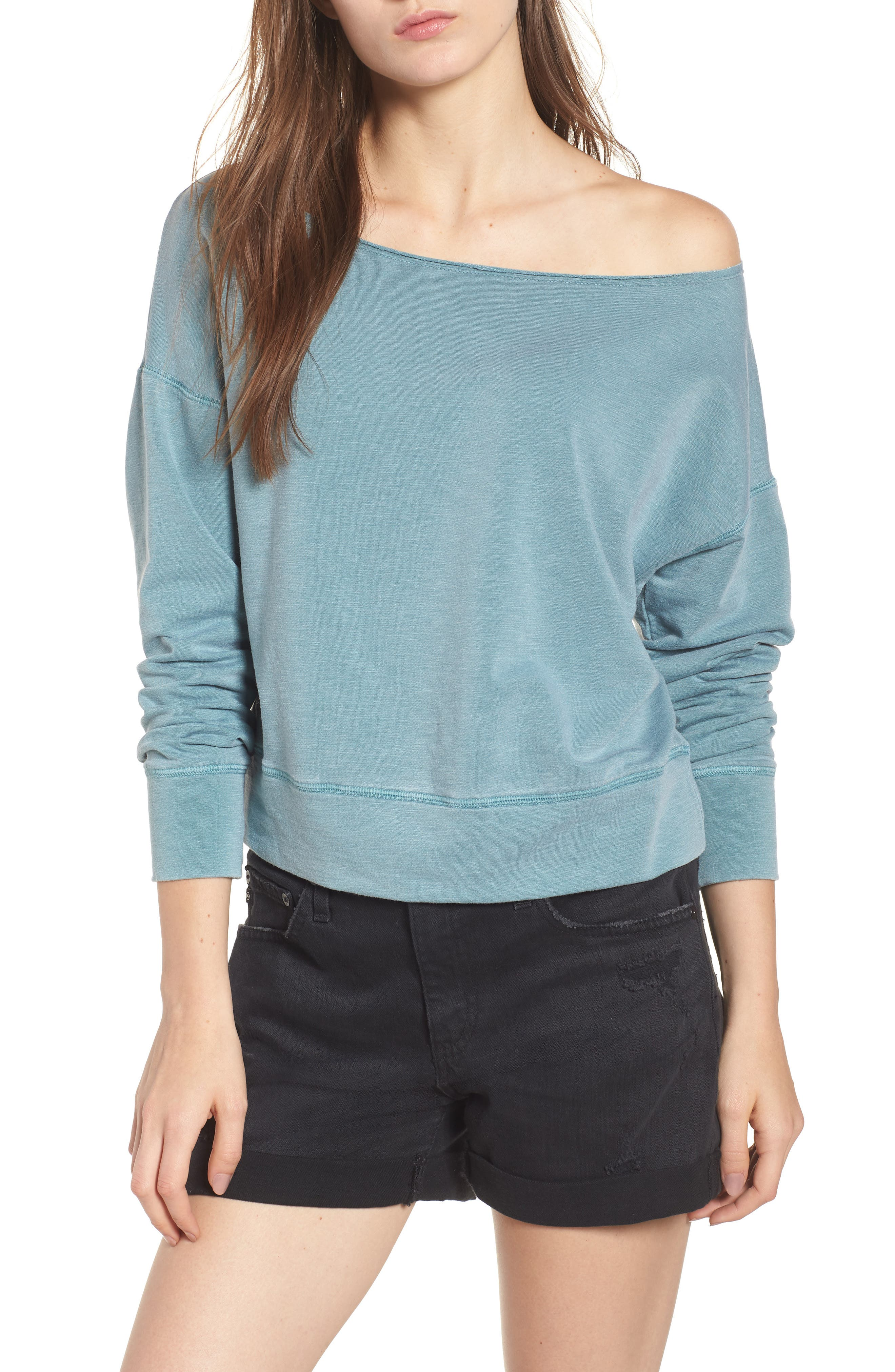 Off the Shoulder Sweatshirt,                             Main thumbnail 1, color,                             Pigment Basil