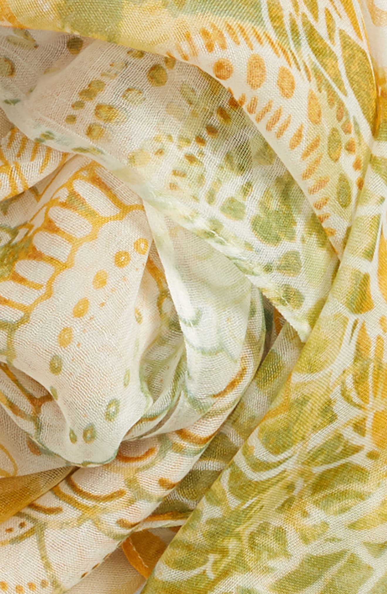 Print Modal & Silk Scarf,                             Alternate thumbnail 3, color,                             Yellow Mystical Beauty