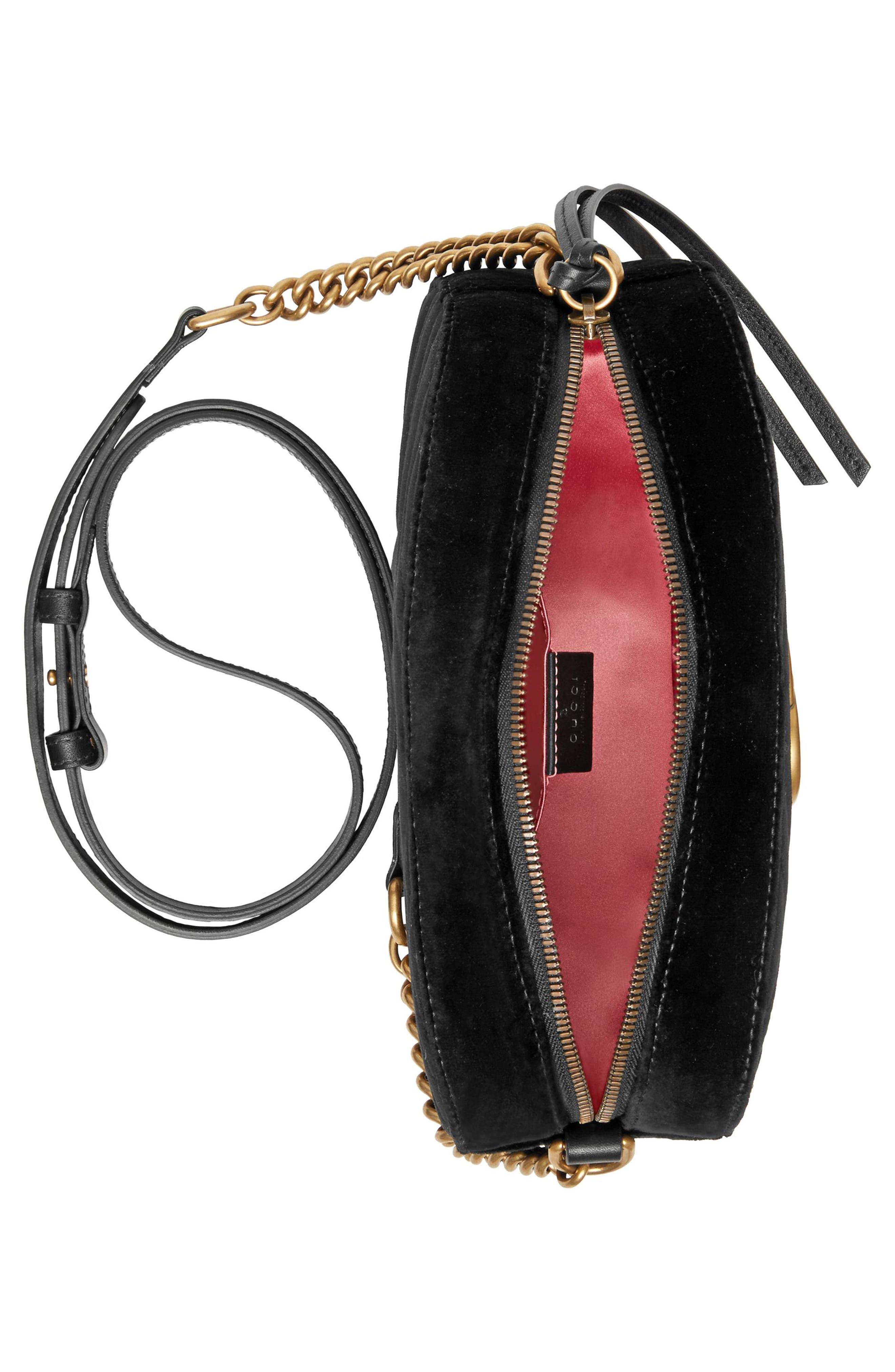 Small GG Marmont 2.0 Matelassé Velvet Shoulder Bag,                             Alternate thumbnail 3, color,                             Nero/ Nero Multi