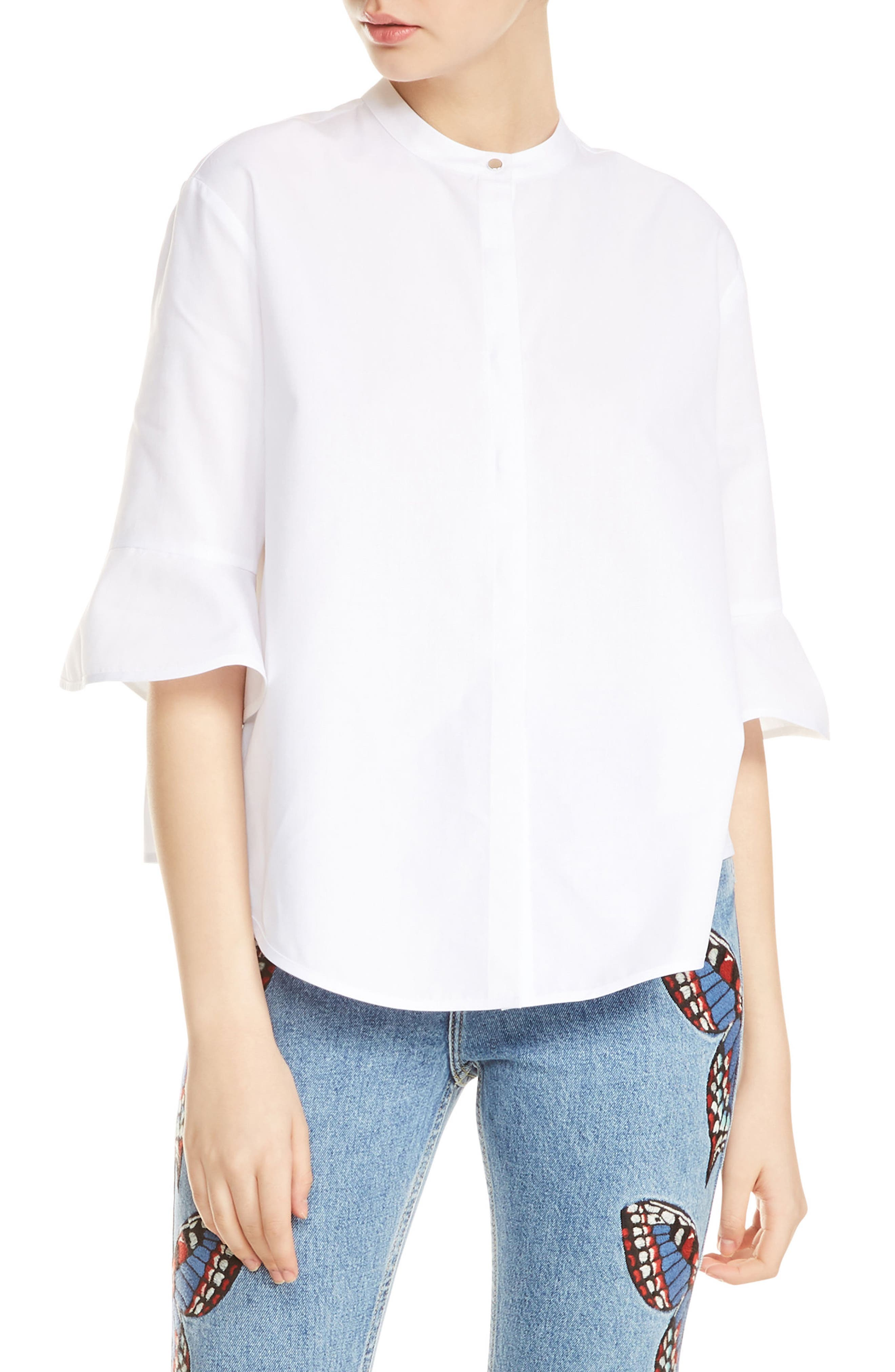 Charlyz Three Quarter Ruffle Sleeve Cotton Blouse,                         Main,                         color, Blanc