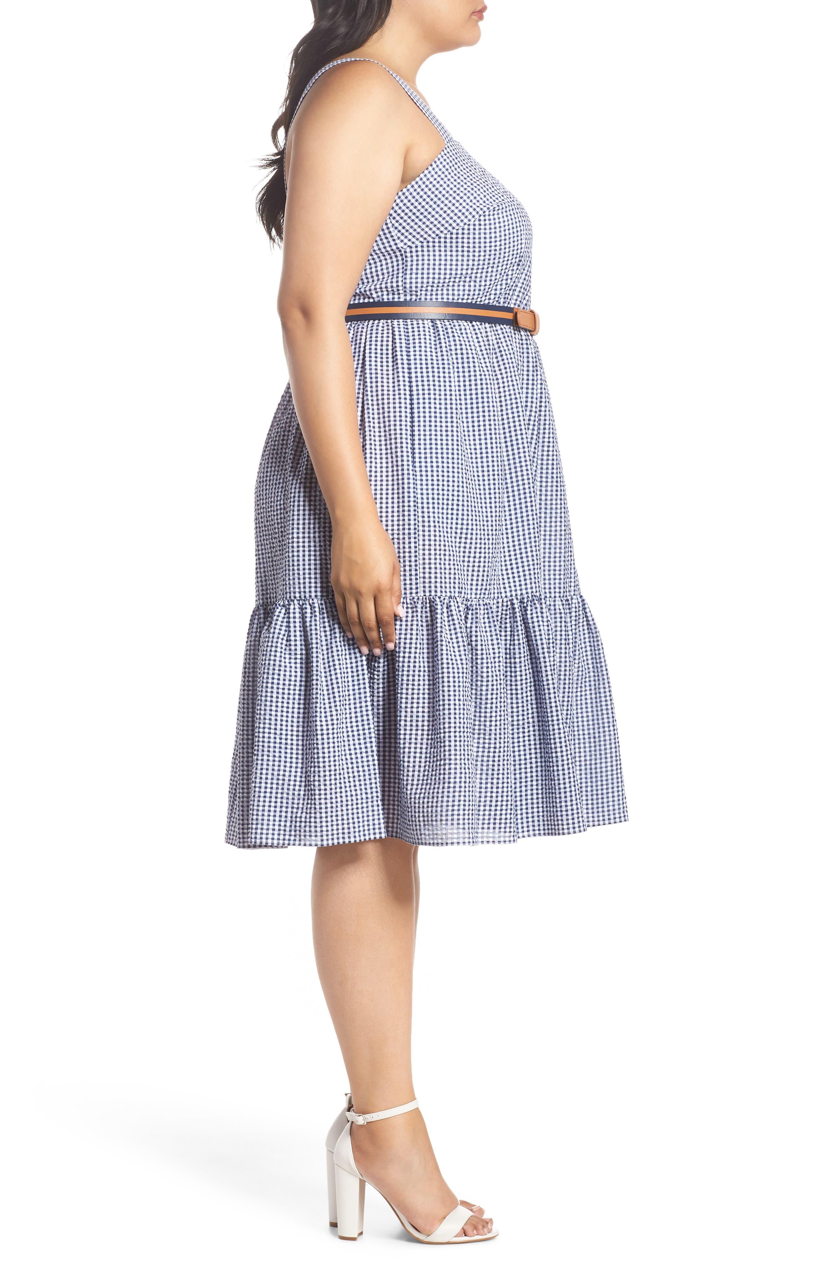 Belted Gingham Seersucker Fit & Flare Dress,                             Alternate thumbnail 3, color,                             Navy/ Ivory