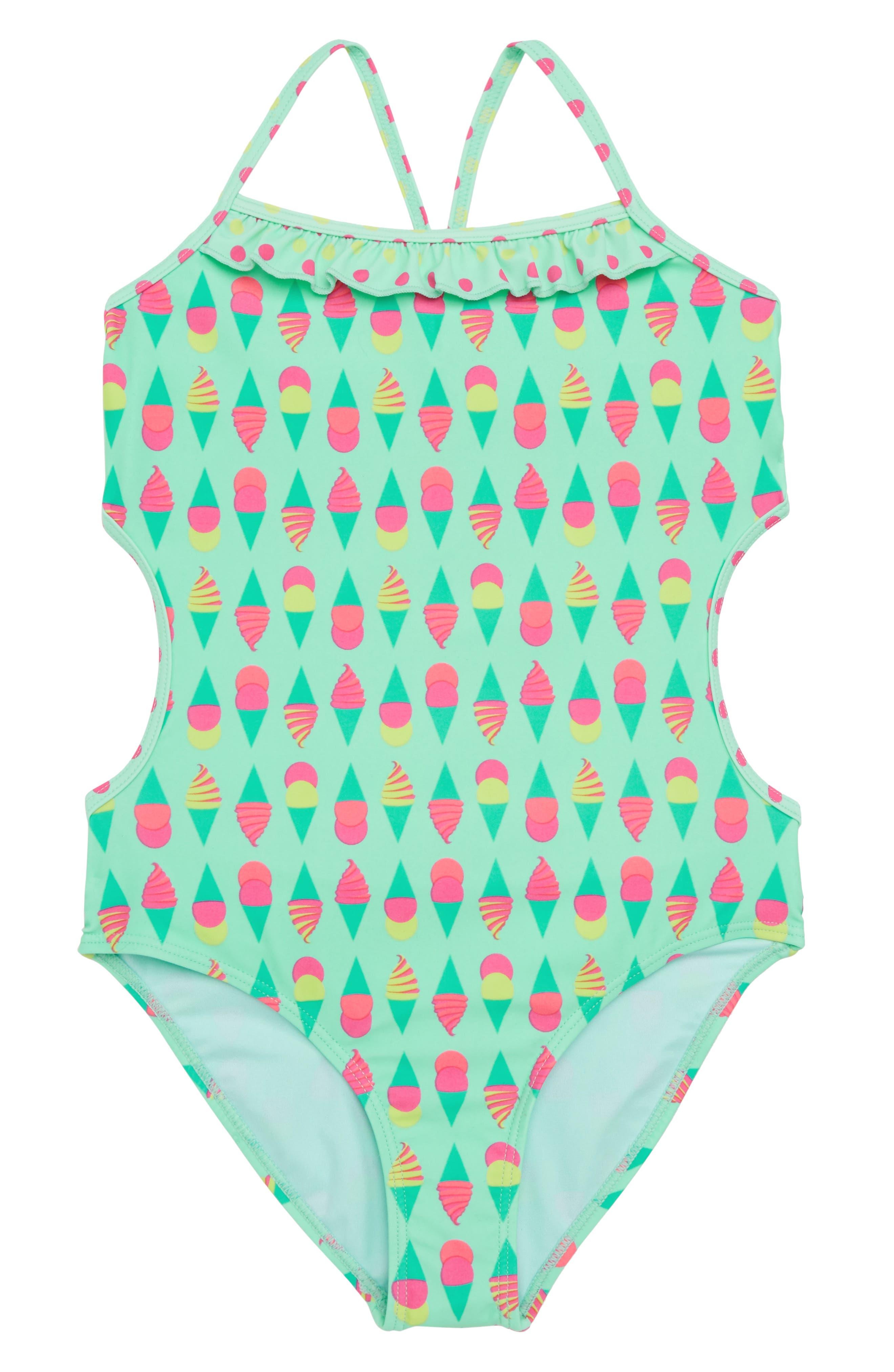 Print Side Cutout One-Piece Swimsuit,                         Main,                         color, Multi