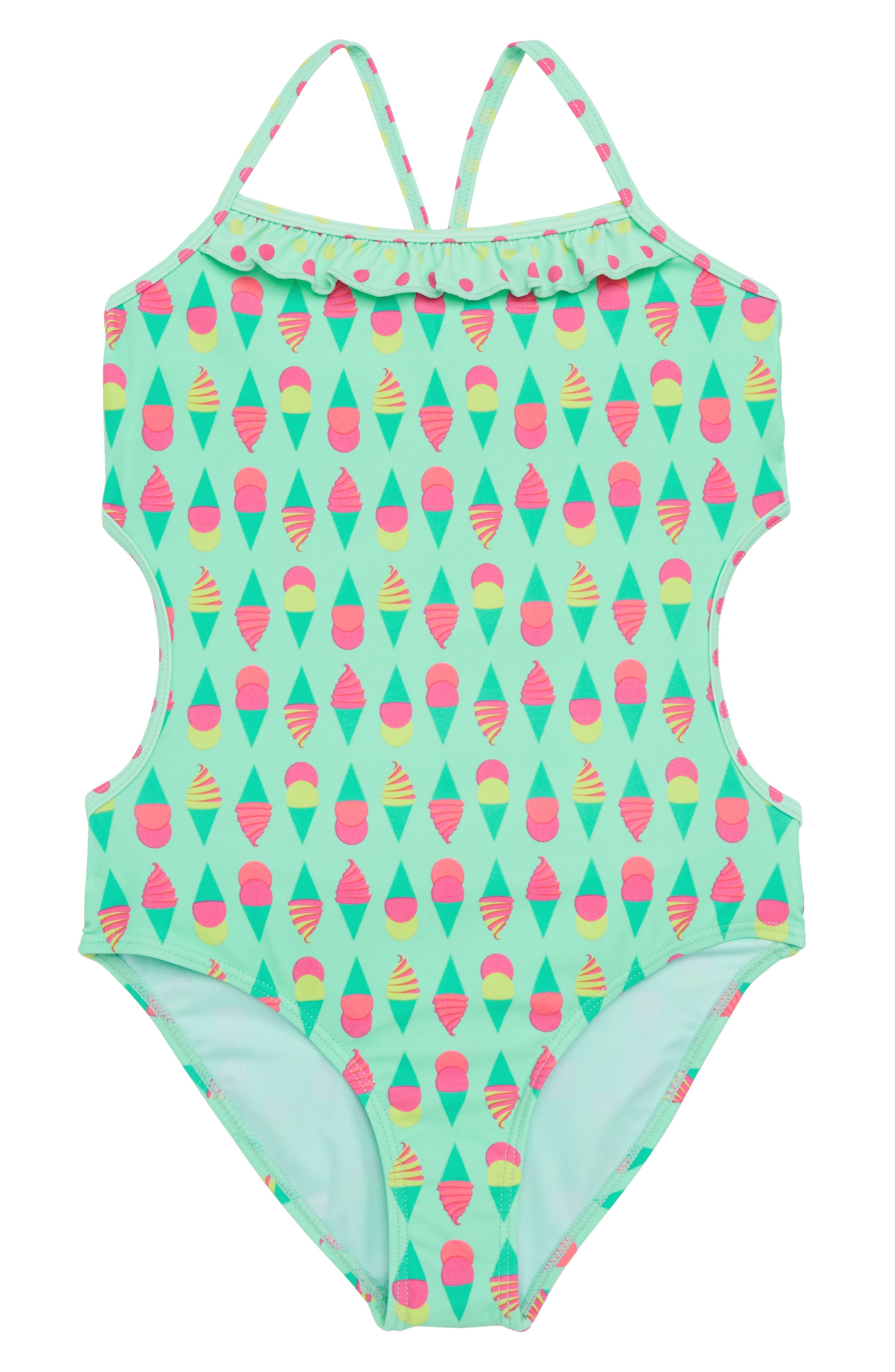 Print Side Cutout One-Piece Swimsuit,                         Main,                         color, Multi