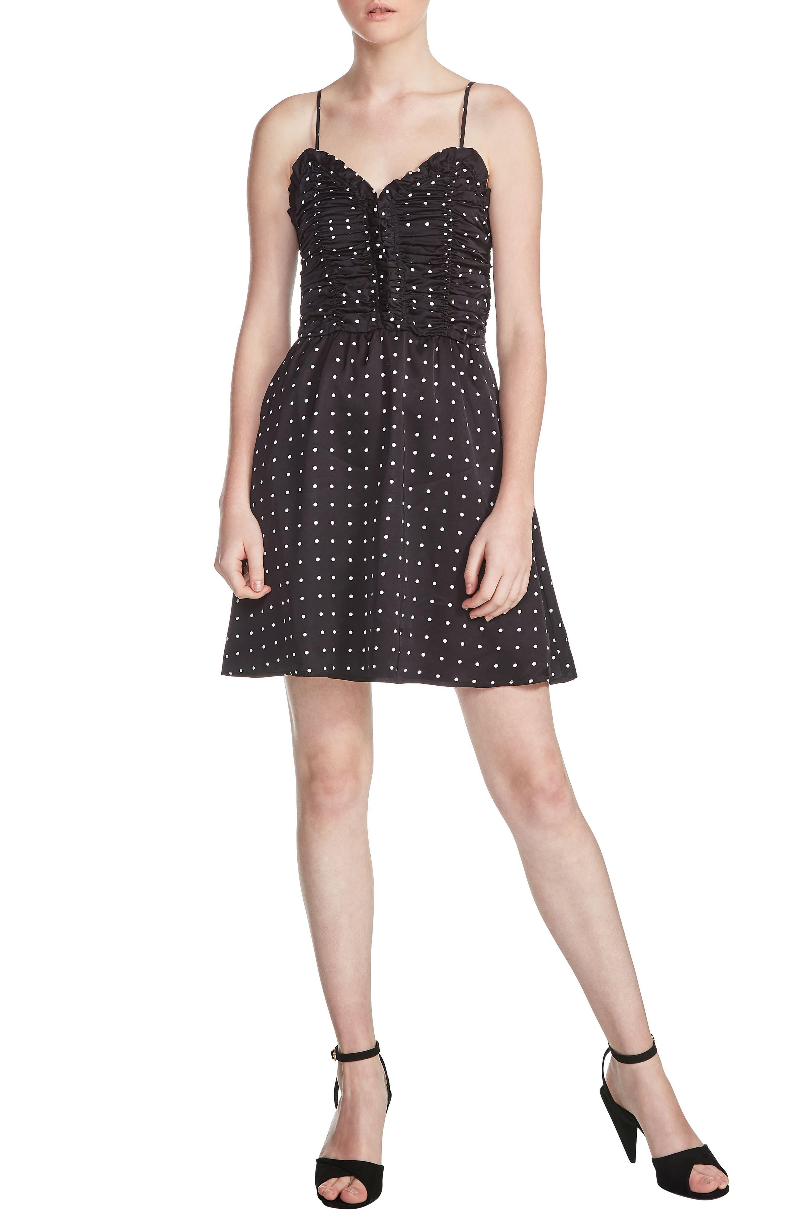 Renota Polka Dot Fit & Flare Dress,                         Main,                         color, Black