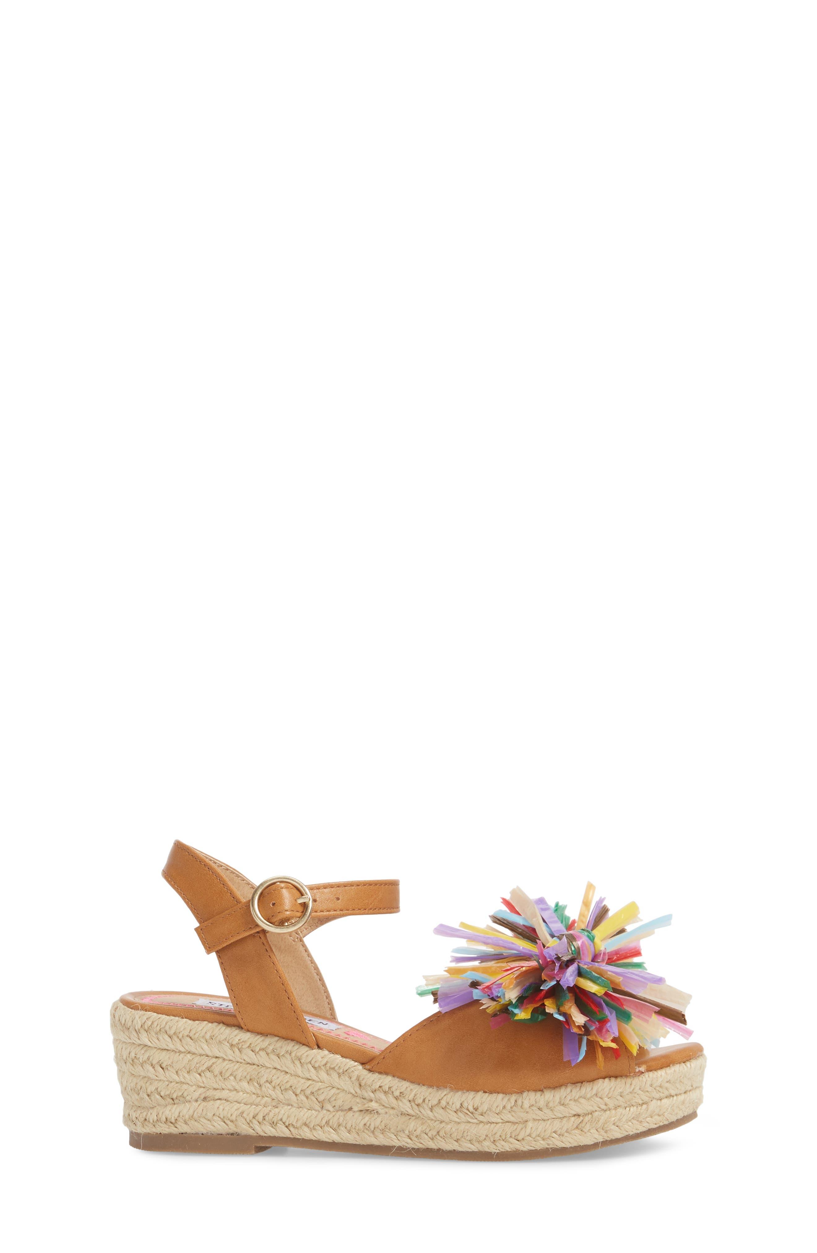 JSTRWBERI Wedge Sandal,                             Alternate thumbnail 3, color,                             Cognac Multi