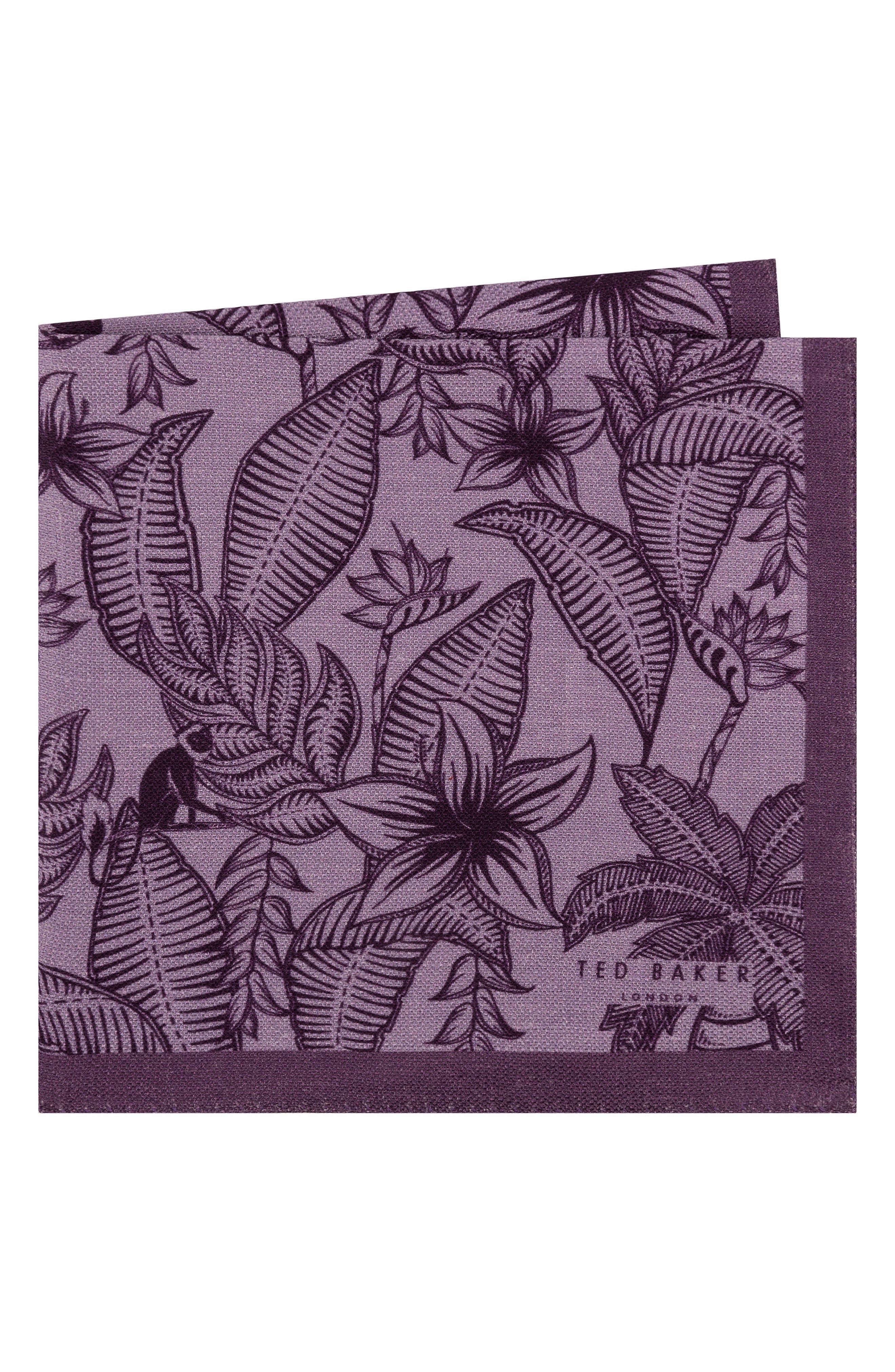 Monkey Botanical Silk Pocket Square,                             Main thumbnail 1, color,                             Purple