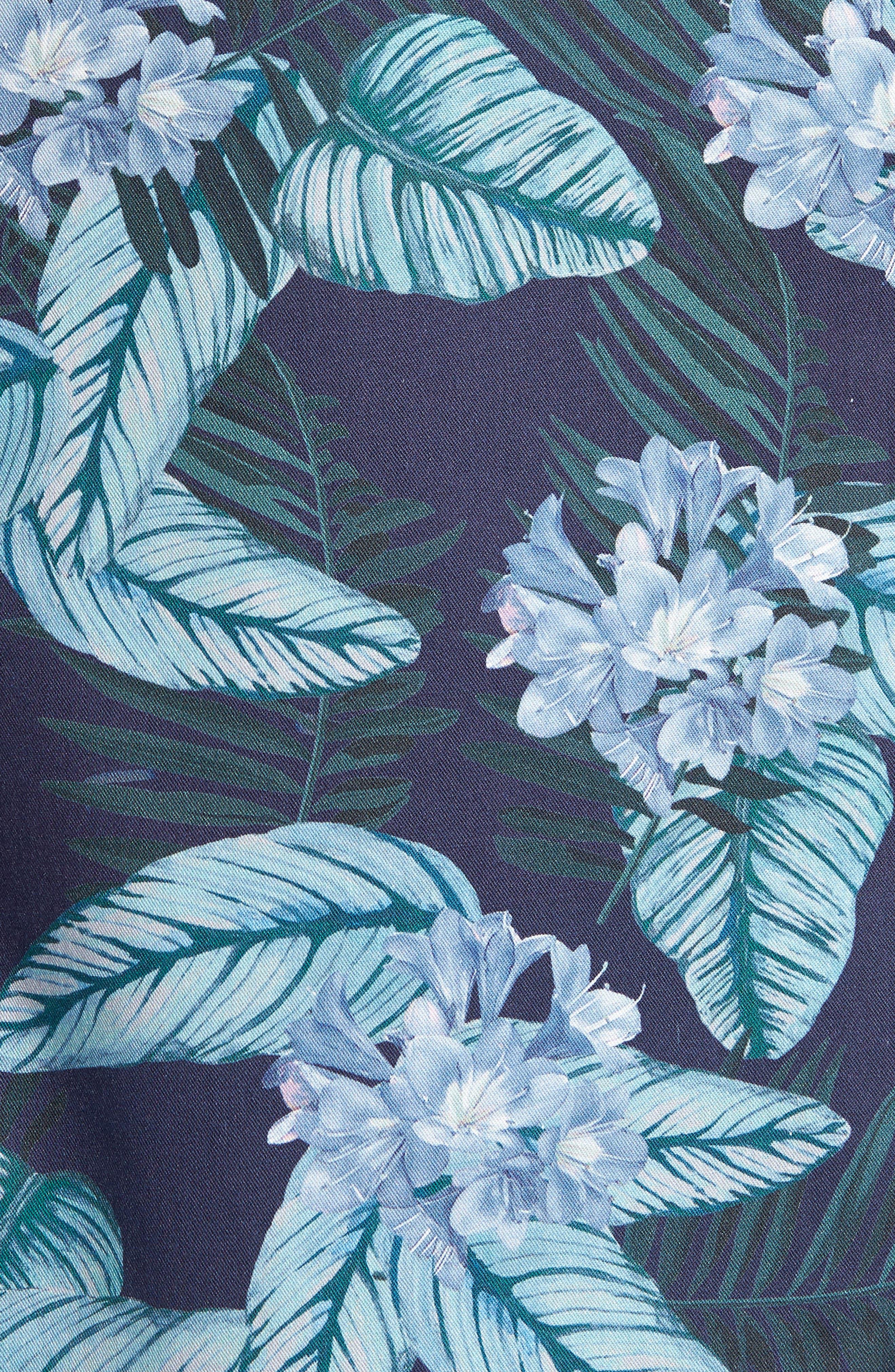 Folinor Slim Fit Floral Cotton Shirt,                             Alternate thumbnail 5, color,                             Navy