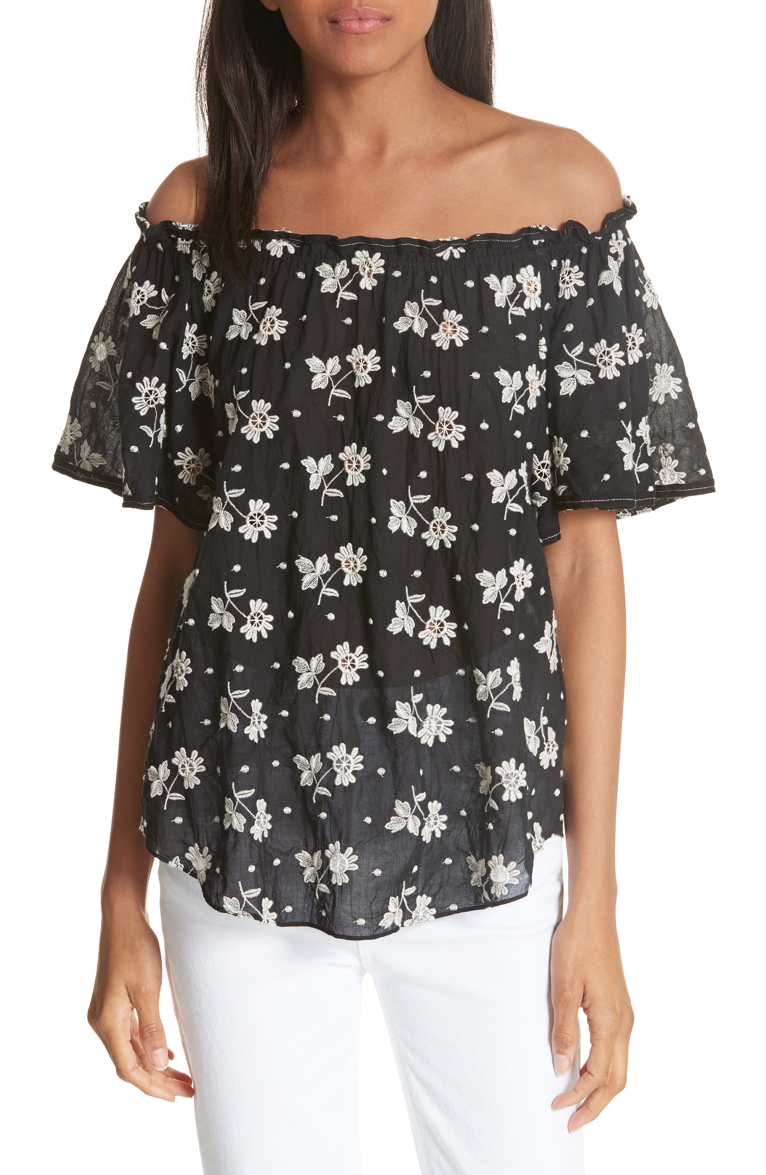 La Vie Rebecca Taylor Helene Embroidery Off the Shoulder Cotton Blouse