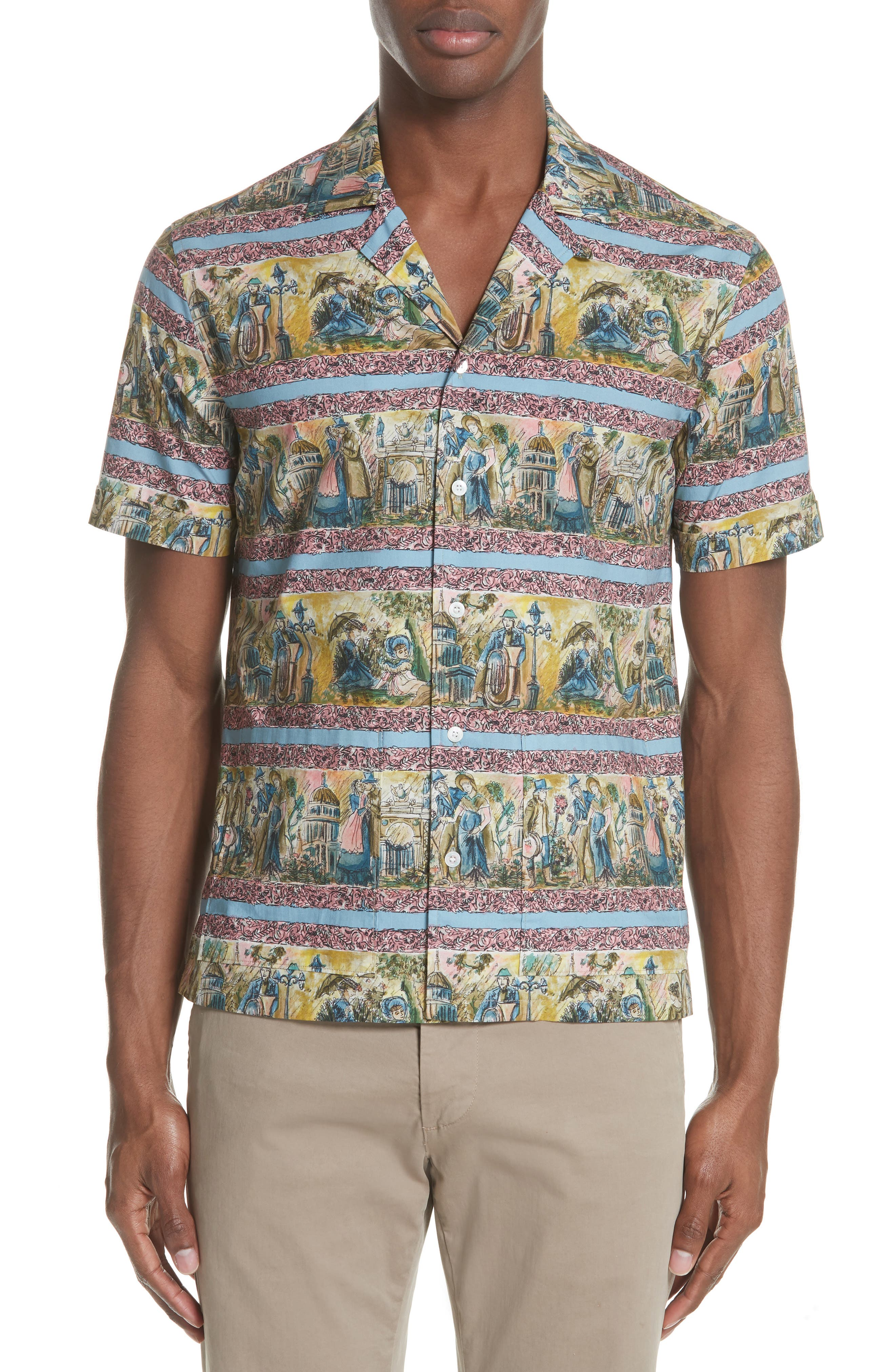 Jude Print Shirt,                         Main,                         color, Turquoise Green