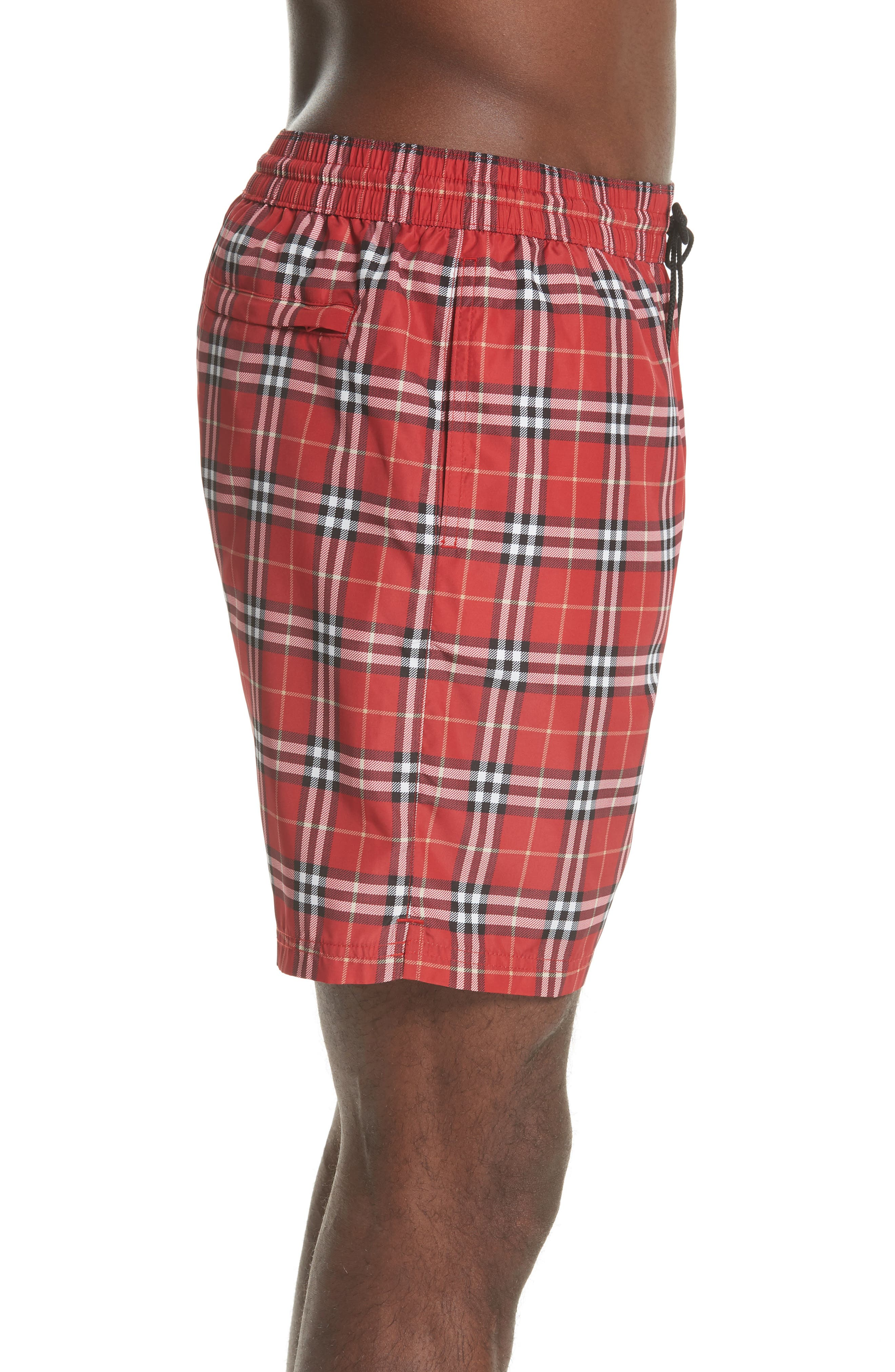 Guides New Check Swim Trunks,                             Alternate thumbnail 3, color,                             Parade Red