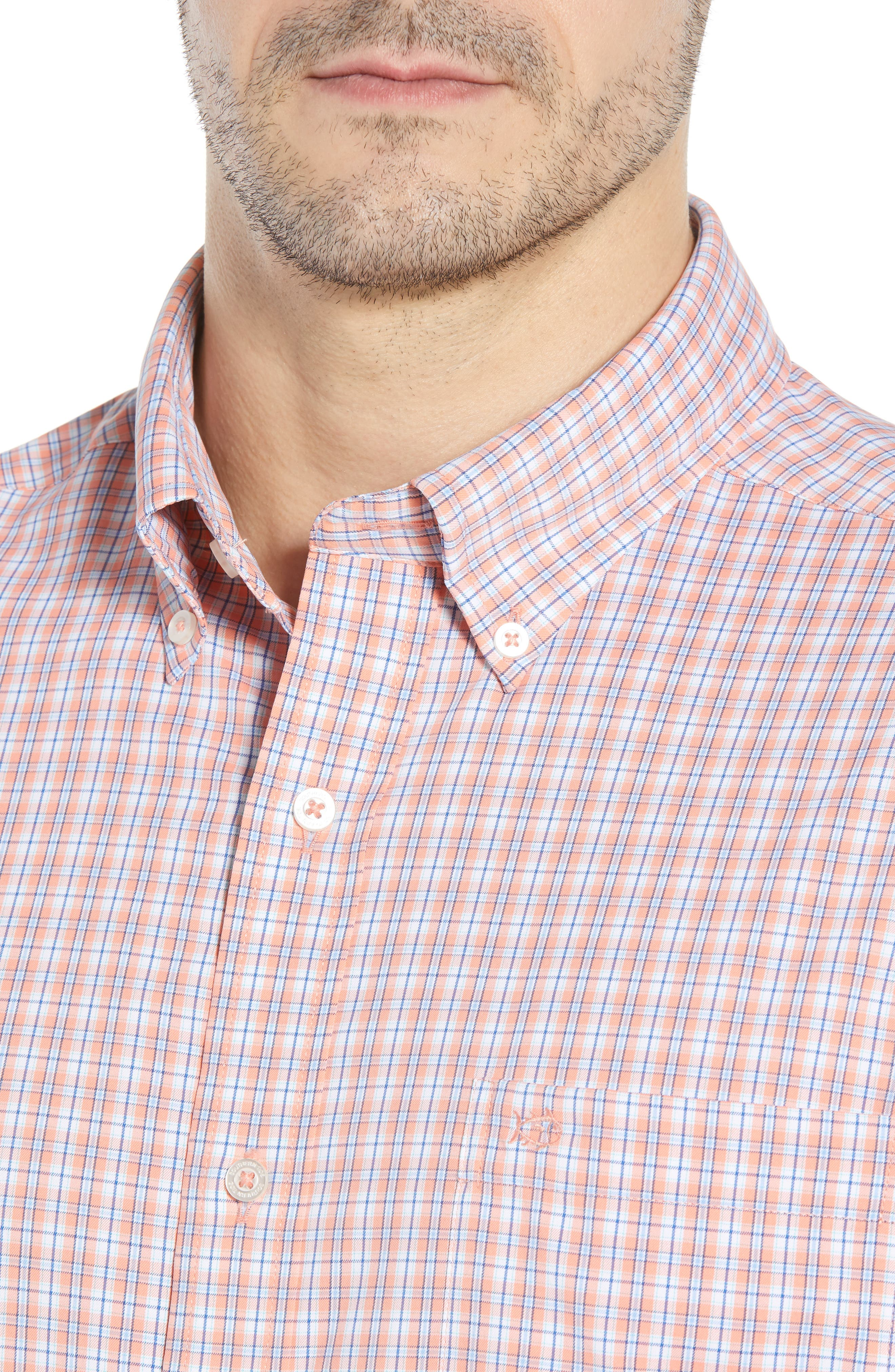Grand Turk Regular Fit Stretch Plaid Sport Shirt,                             Alternate thumbnail 2, color,                             Nectar Coral